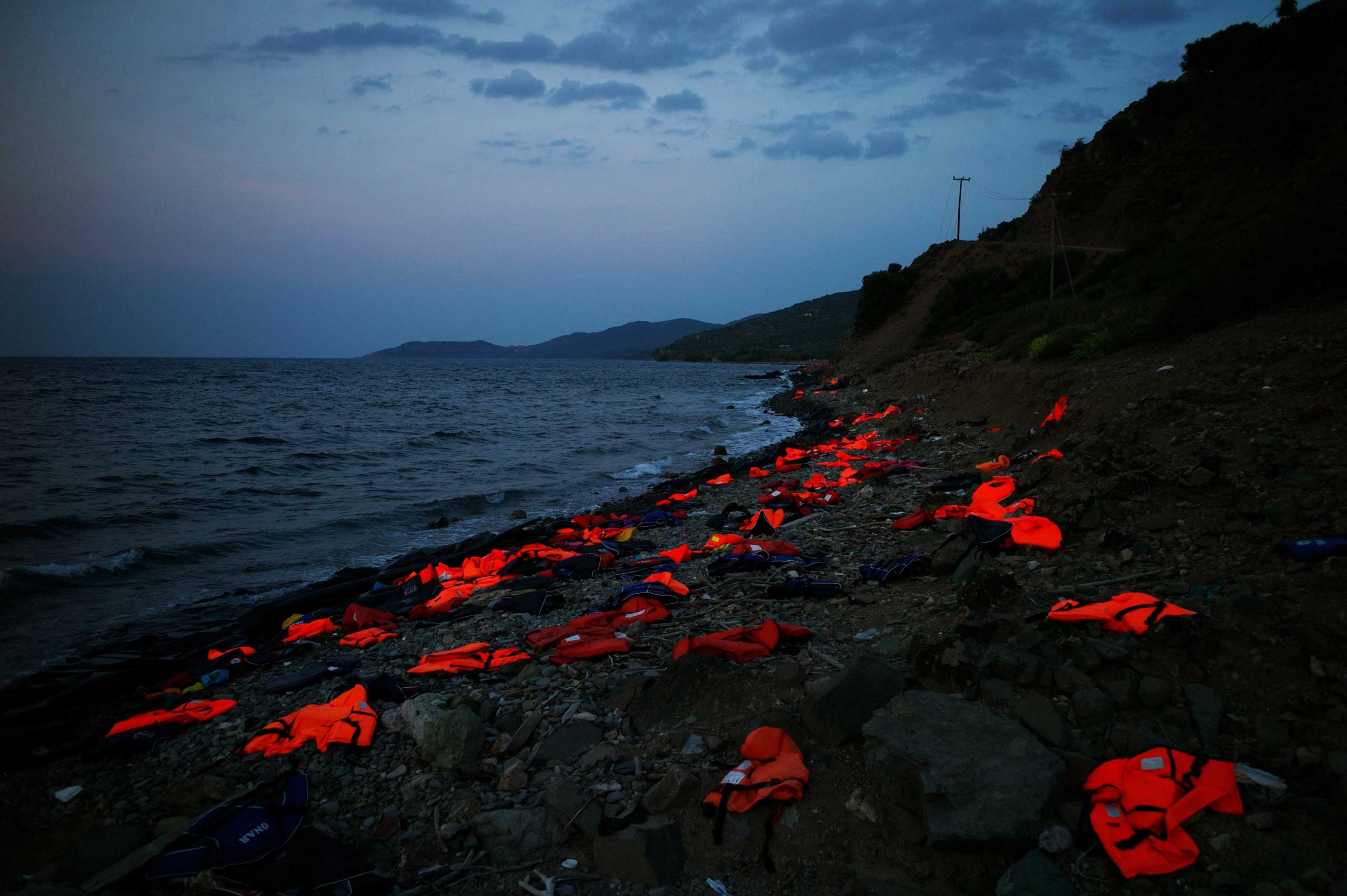 Life vests left on the shore of the Greek island of Lesbos, Sept. 8, 2015.