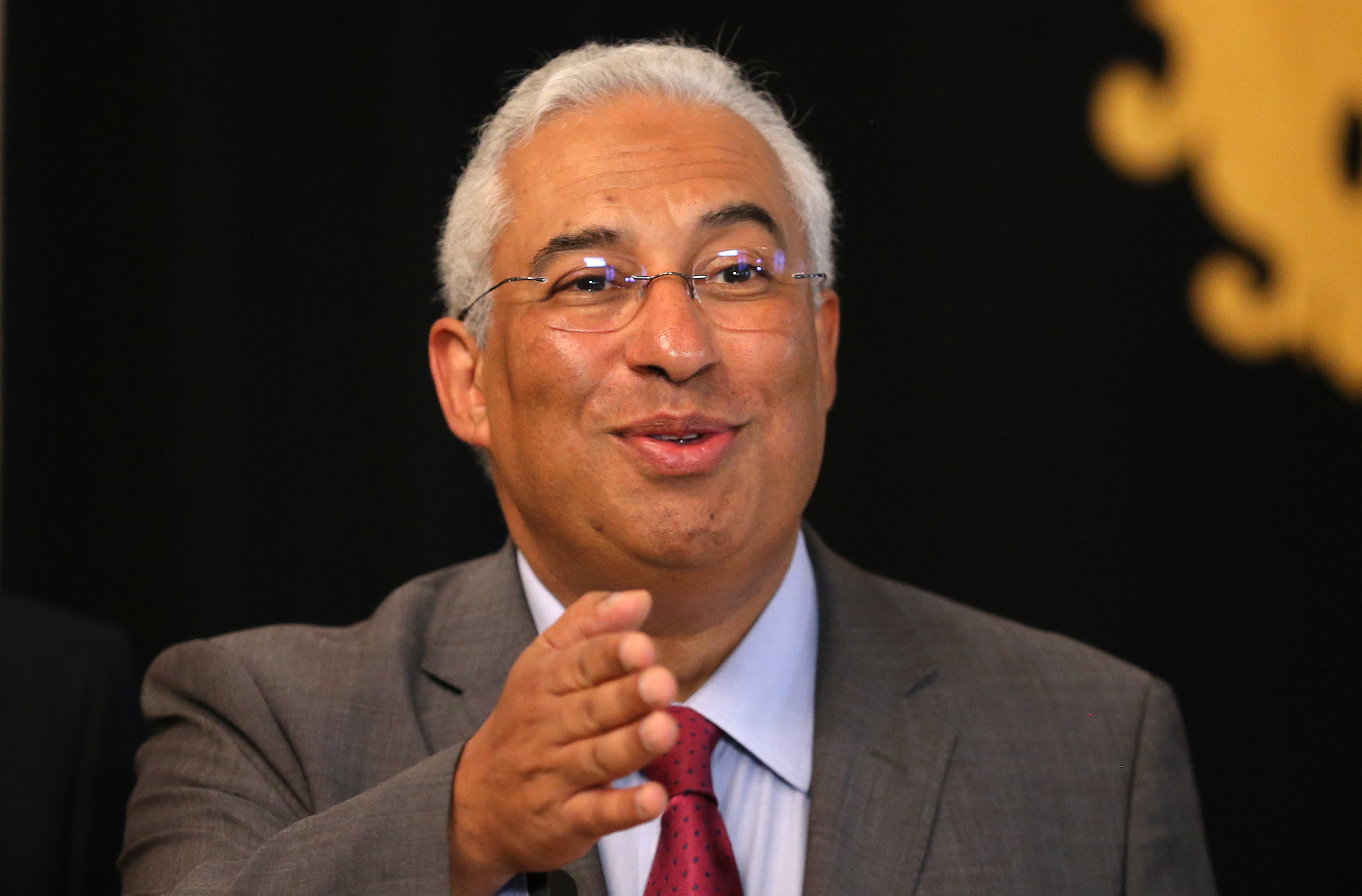In this Friday, Nov. 20, 2015 file photo, Portuguese Socialist Party leader Antonio Costa talks to journalists after a meeting with President Anibal Cavaco Silva, at the Belem presidential palace in Lisbon.