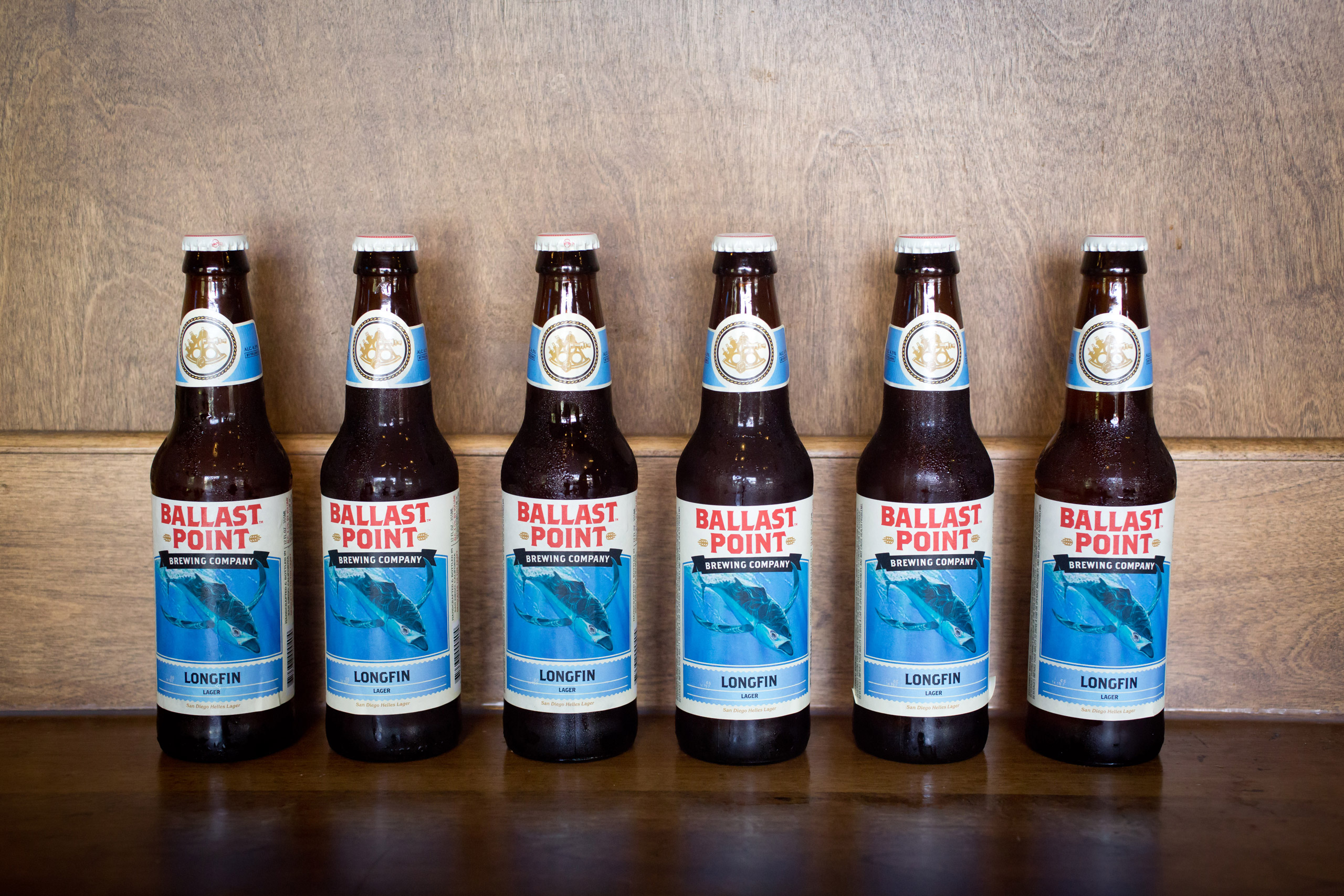 Bottles with Longfin Lager, Helles Lager in the tasting room of the Ballast Point Brewing Company, a micro brewery in San Diego, on August 25, 2014.