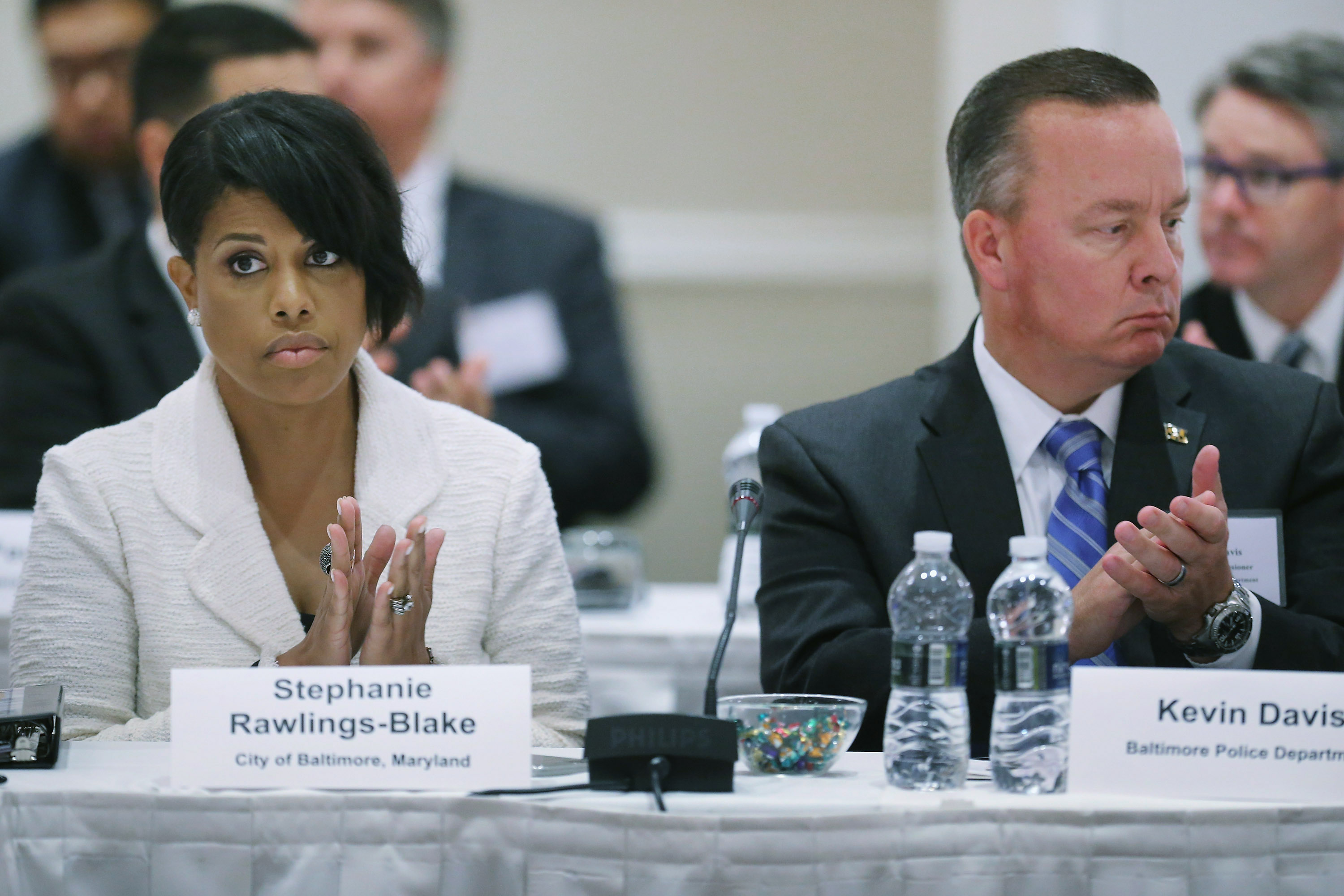 Baltimore Mayor Stephanie Rawlings-Blake and Baltimore Interim Police Commissioner Kevin Davis, left to right, attend a summit on violent crime reduction in Washington, D.C.  in October.