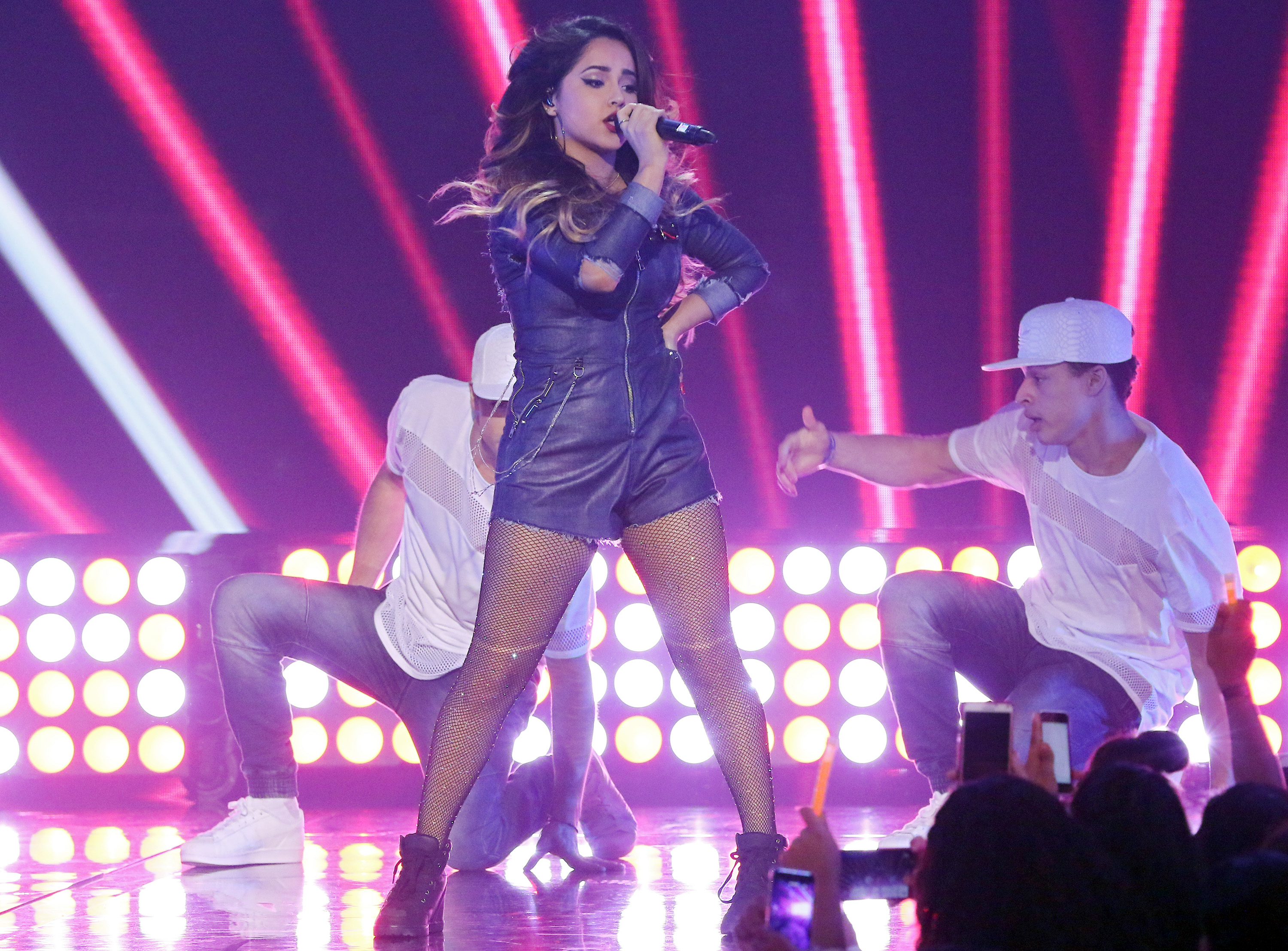 Becky G performs on the set of La Banda in Miami on Nov. 22, 2015.