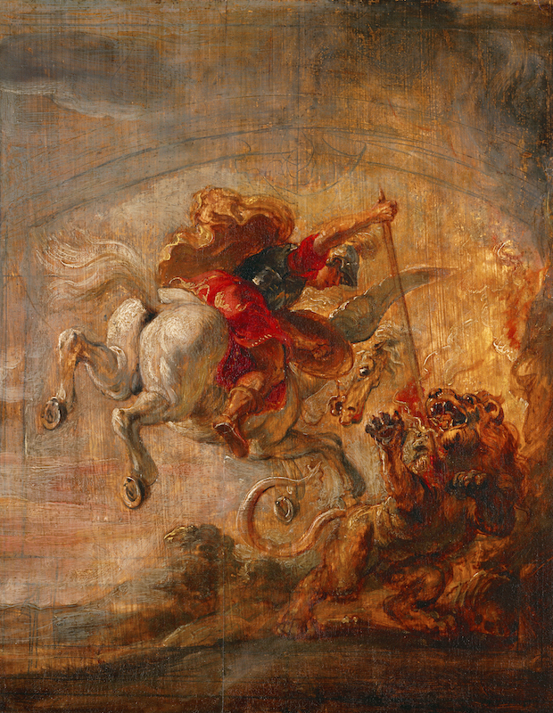 Circa 1600: Bellerophon, riding Pegasus, fights the Chimera. Oil on canvas.