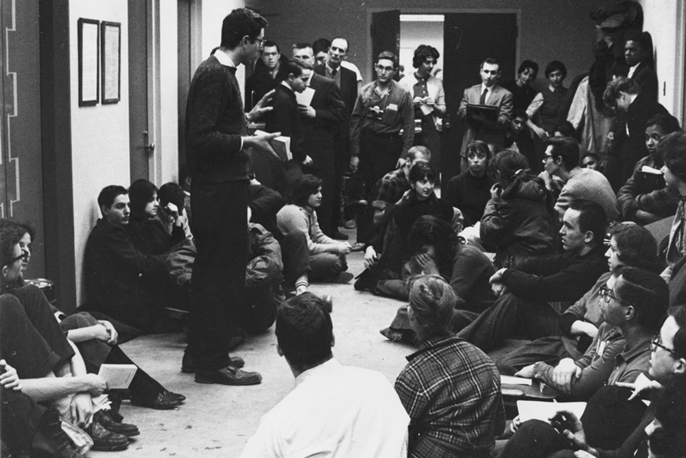 An activist, identified as Vermont Sen. Bernie Sanders, speaks to students on the first day of a sit-in at the University of Chicago in 1962.