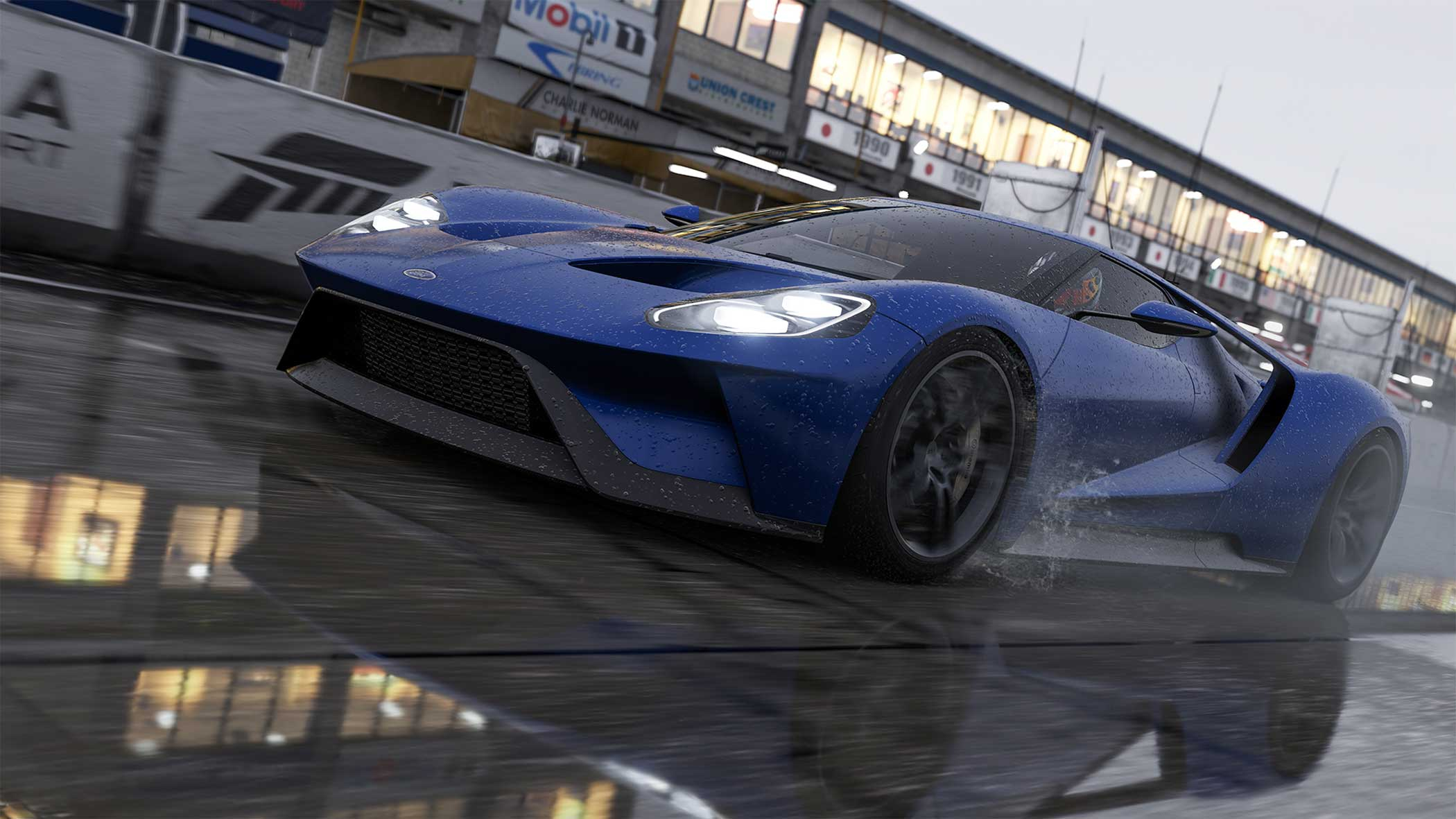 """<b>Forza Motorsport 6</b> Design Process:<i> """"The team did a fantastic job of creating wet-weather conditions in stunning realism, highlighting the danger and intensity at the heart of racing in the rain. In our recreation of rain, players struggle for traction and tires aquaplane across fully-simulated and accurately-placed puddles.""""</i> - Turn 10 Studios"""