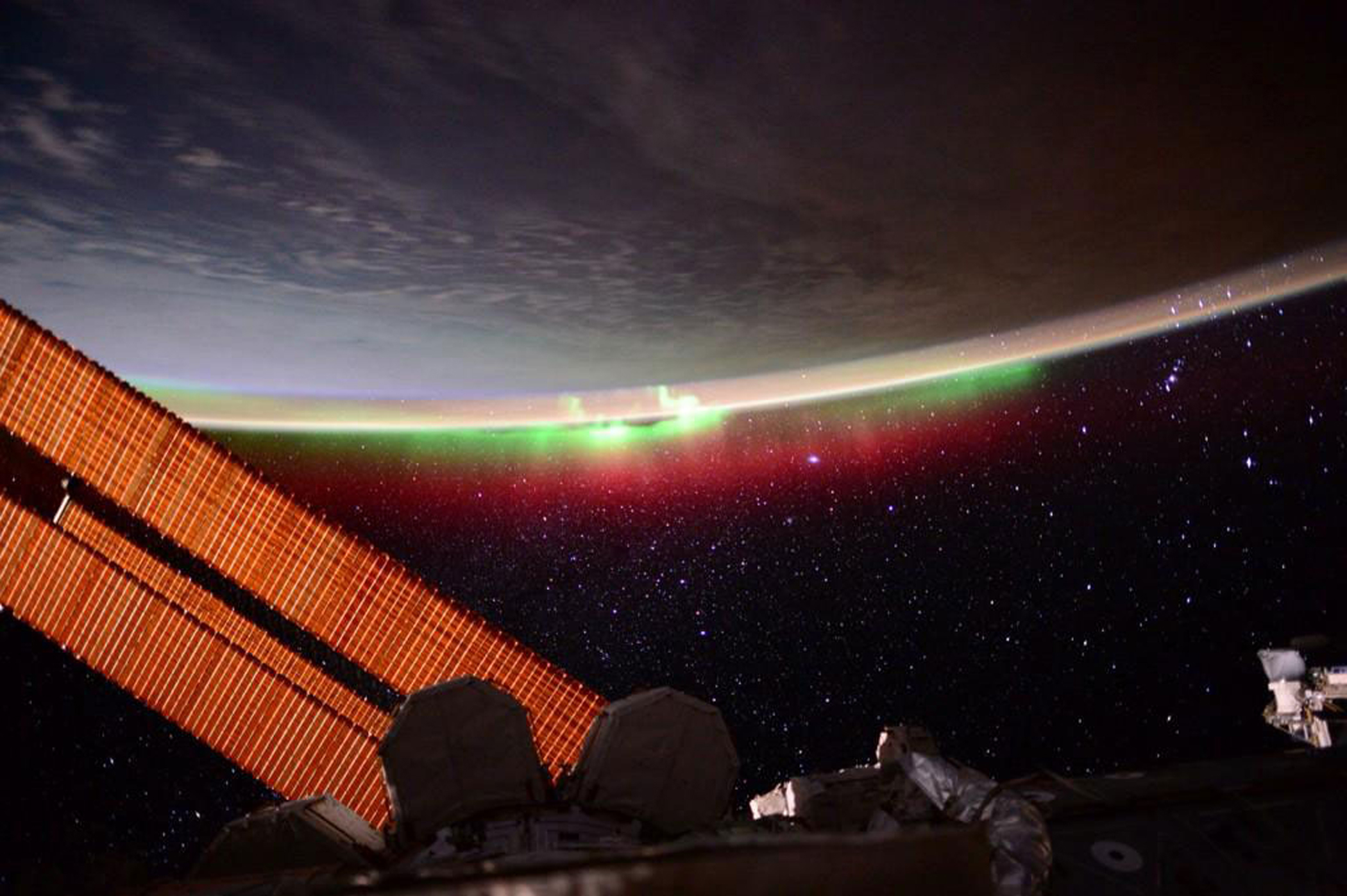 A brilliant aurora as seen from the International Space Station on June 27, 2015.