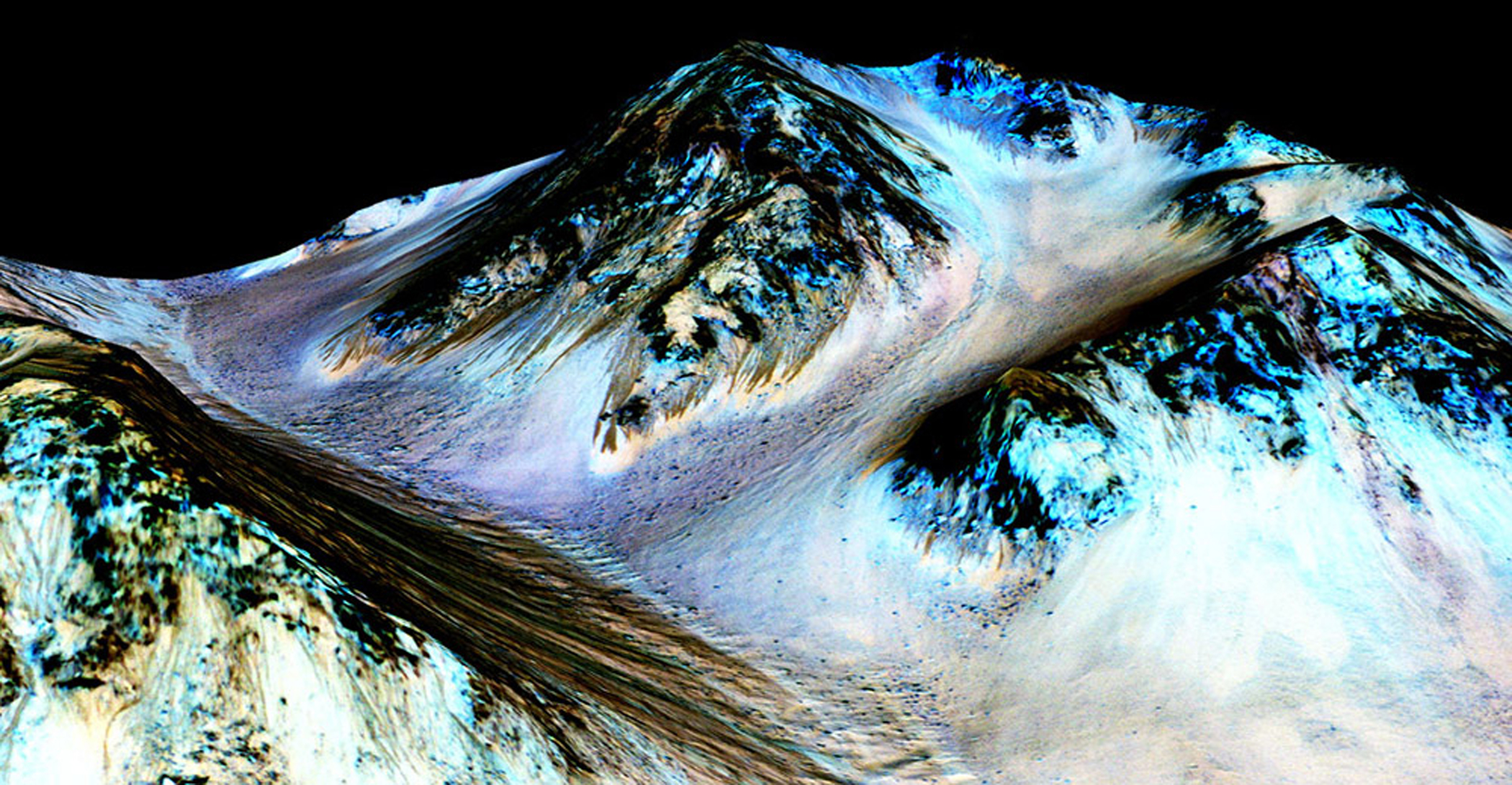 A 3-D computer model (a digital terrain map) of Hale Crater on Mars based on stereo information from two HiRISE observations showing dark, narrow streaks on the Martian slopes that are inferred to be formed by seasonal flow of water on contemporary Mars was released on Sept. 28, 2015.