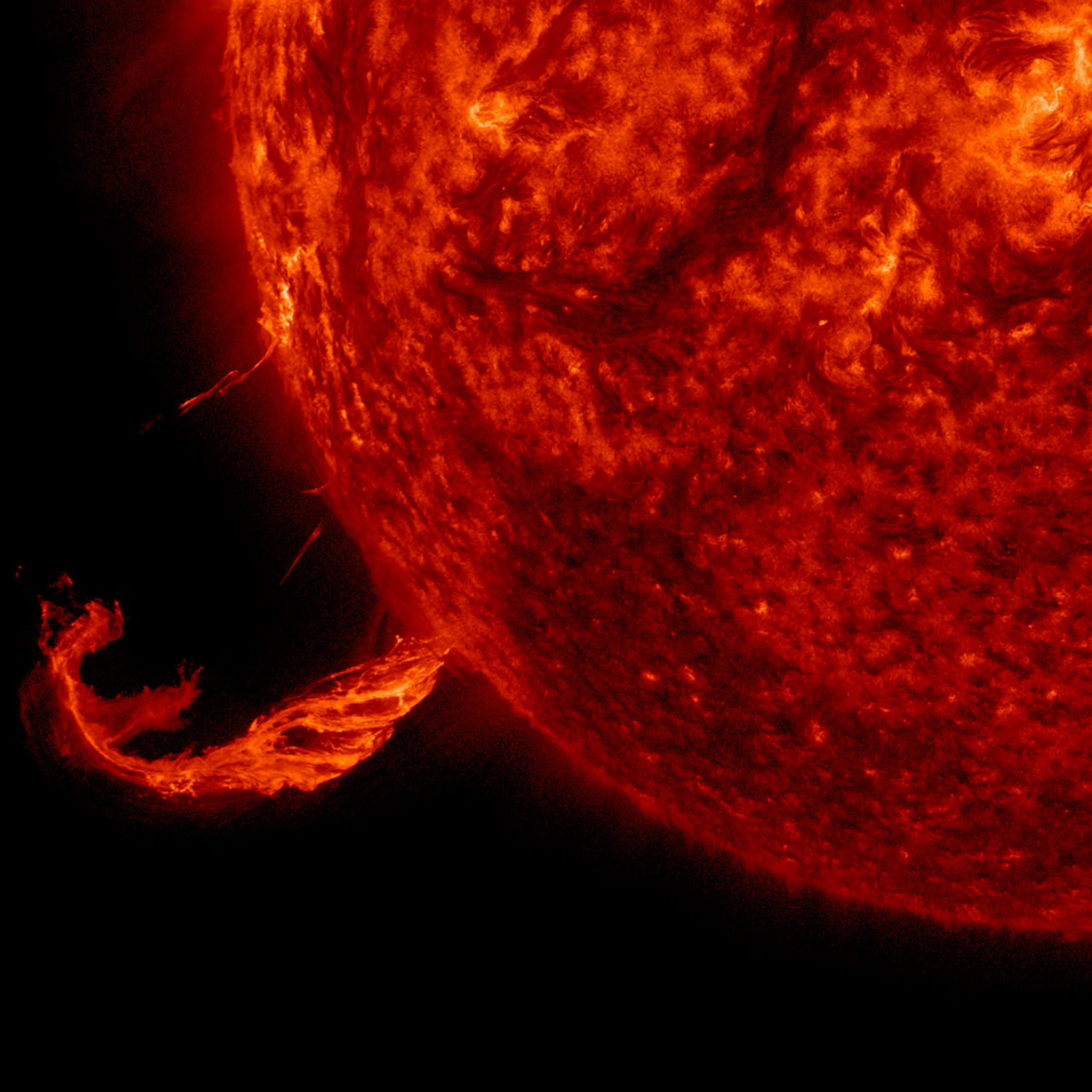 The Sun blew out a coronal mass ejection along with part of a solar filament over a three-hour period on Feb. 24, 2015. While some of the strands fell back into the Sun, a substantial part raced into space in a bright cloud of particles, as observed by the SOHO spacecraft.