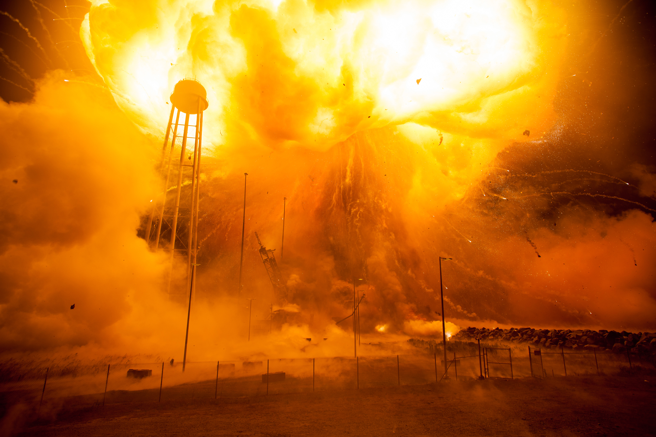 The Orbital ATK Antares rocket, with a Cygnus spacecraft onboard, suffered a catastrophic explosion moments after launch on Oct. 28, 2014, at NASA's Wallops Flight Facility in Virginia.  The Cygnus spacecraft was filled with supplies slated for the International Space Station.  The never before seen photographs were released by NASA this year.