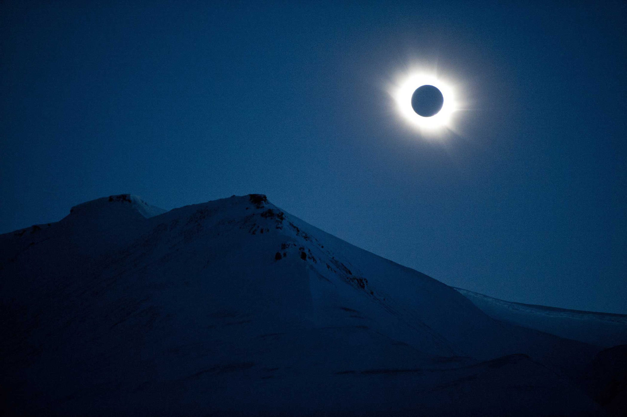 The total solar eclipse at Svalbard, Norway, on March 20, 2015. A partial solar eclipse was seen in Europe, northern and eastern Asia and northern and western Africa.