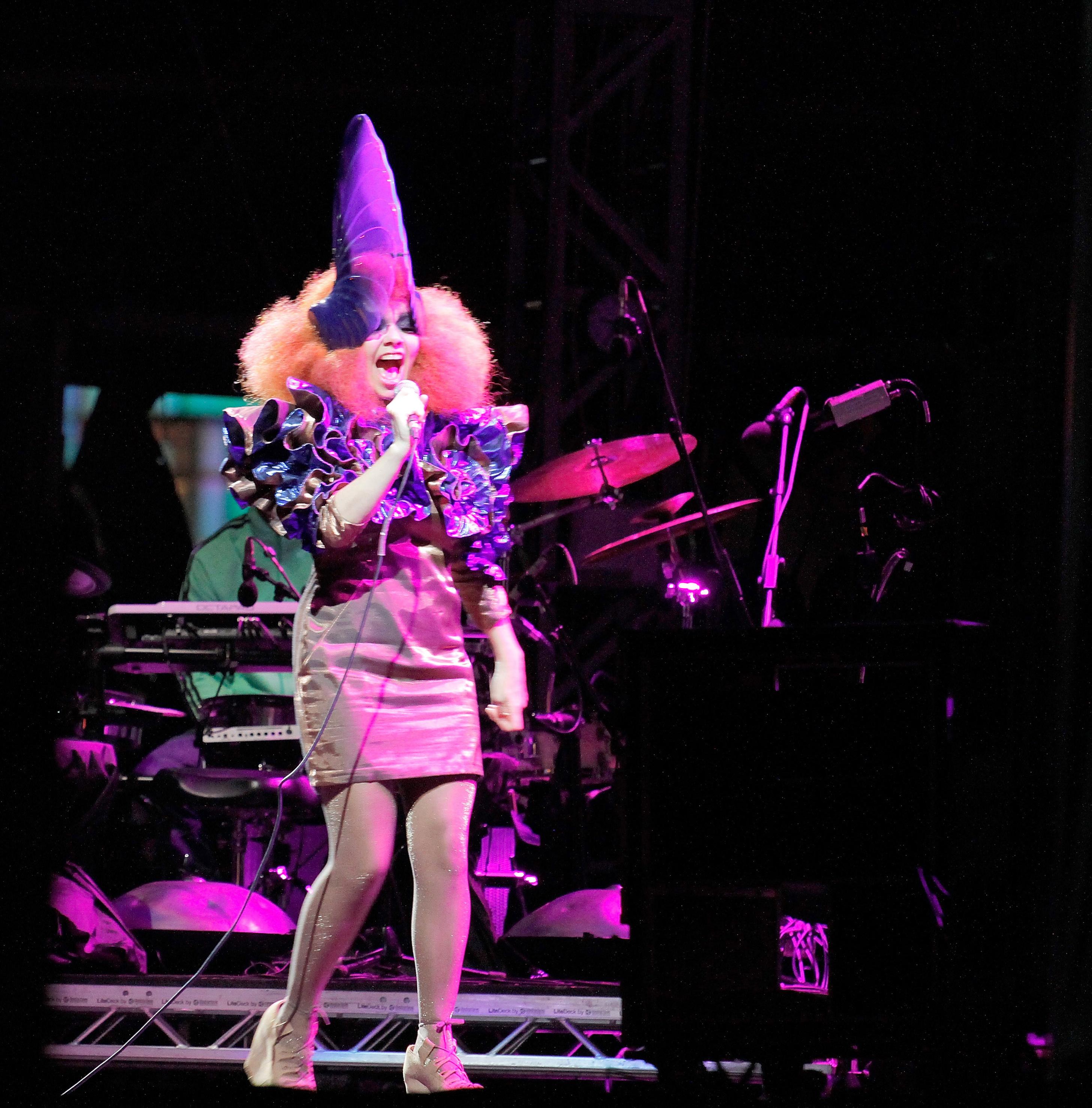 Björk performs in Newport, Isle of Wight on Sept. 11, 2011.