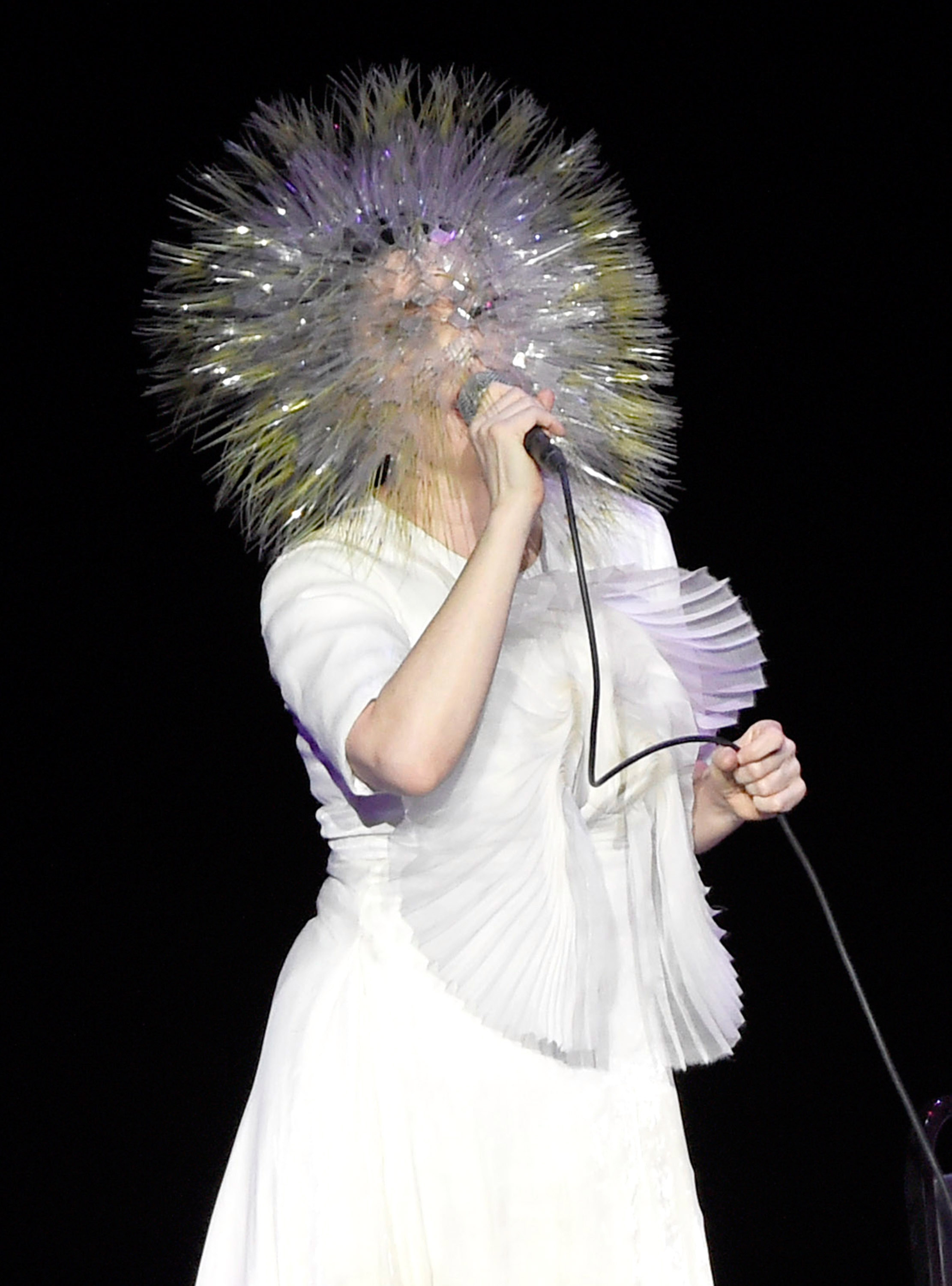 Björk performs onstage during her 'Vulnicura' tour at Kings Theatre in Brooklyn, N.Y. on March 18, 2015.