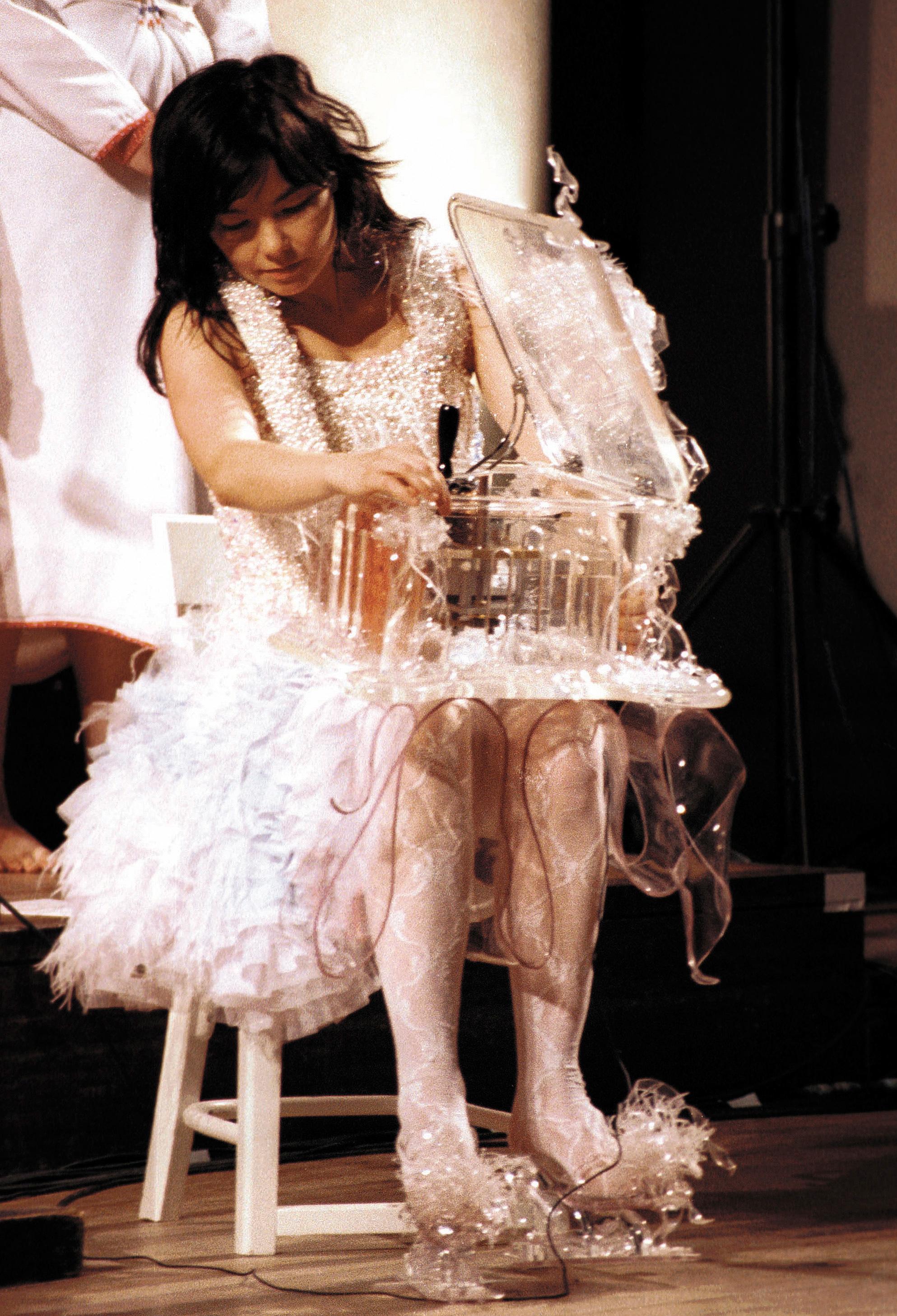 Björk performs at St. John's Church in London on Aug. 29, 2001.