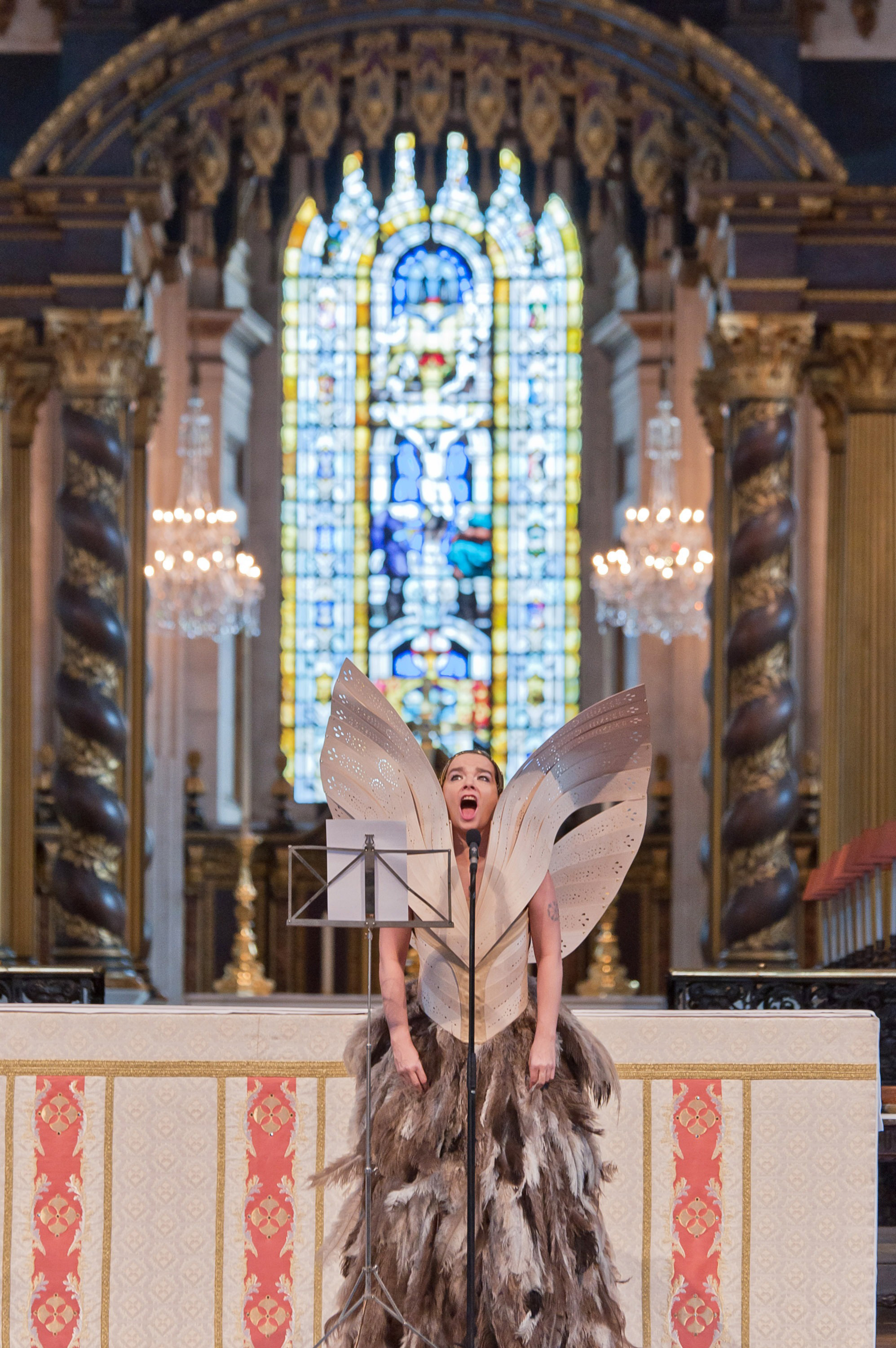 Björk performs at the Alexander McQueen Memorial Service at St. Paul's Cathedral in London on Sept. 20, 2010.