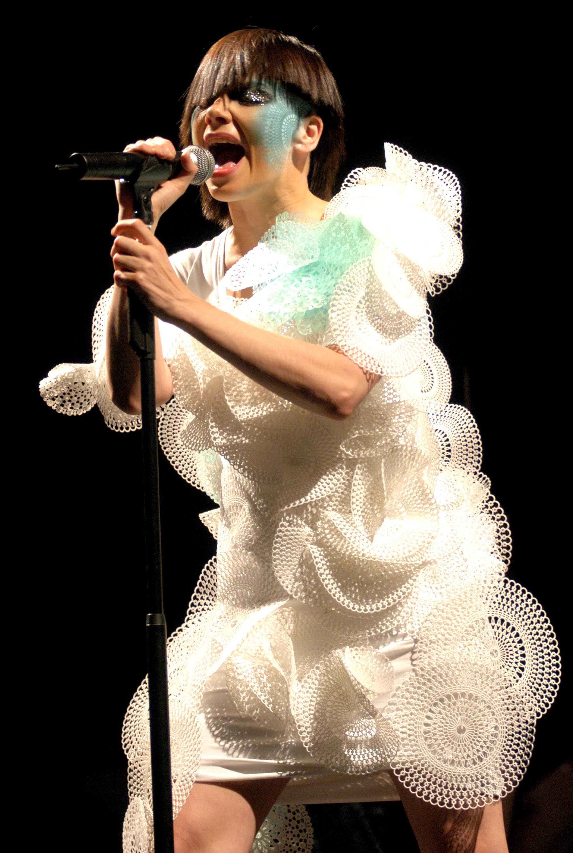 Björk performs at Coney Island in Brooklyn, N.Y. on Aug. 23, 2003.