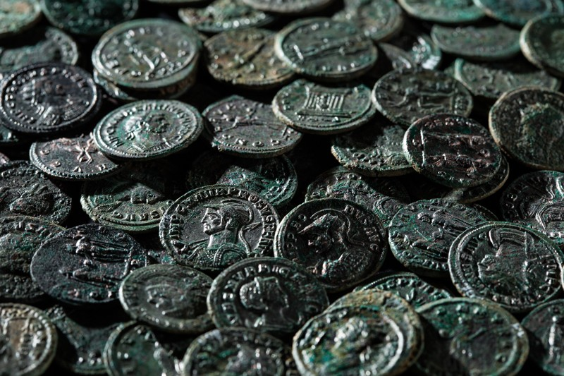 Swiss archaeologists discovered 4,166 coins dating from the 3rd century