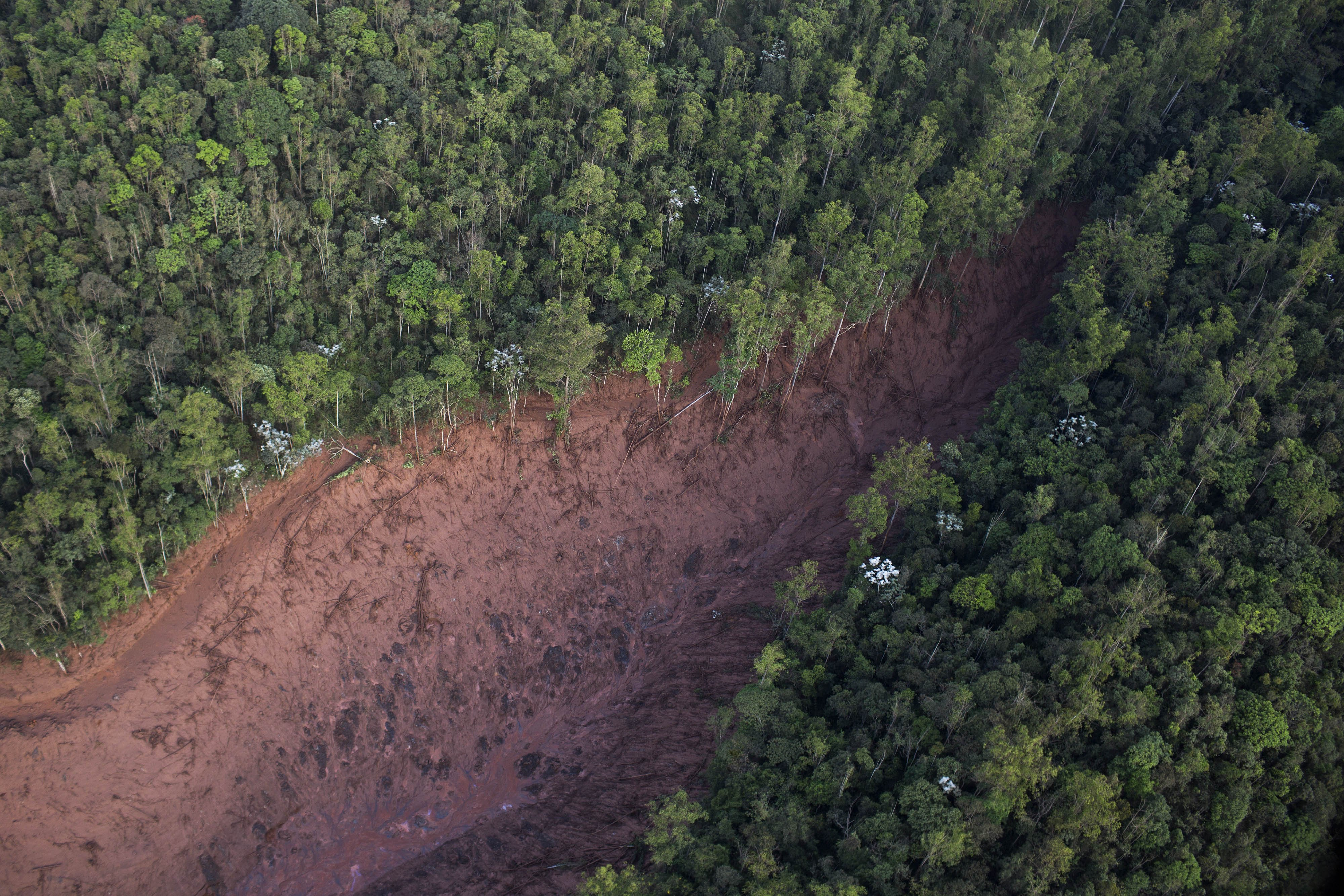 Aerial view of a mudslide after a dam burst at the small town of Bento Rodrigues in Minas Gerais state, Brazil, on Nov. 6, 2015.