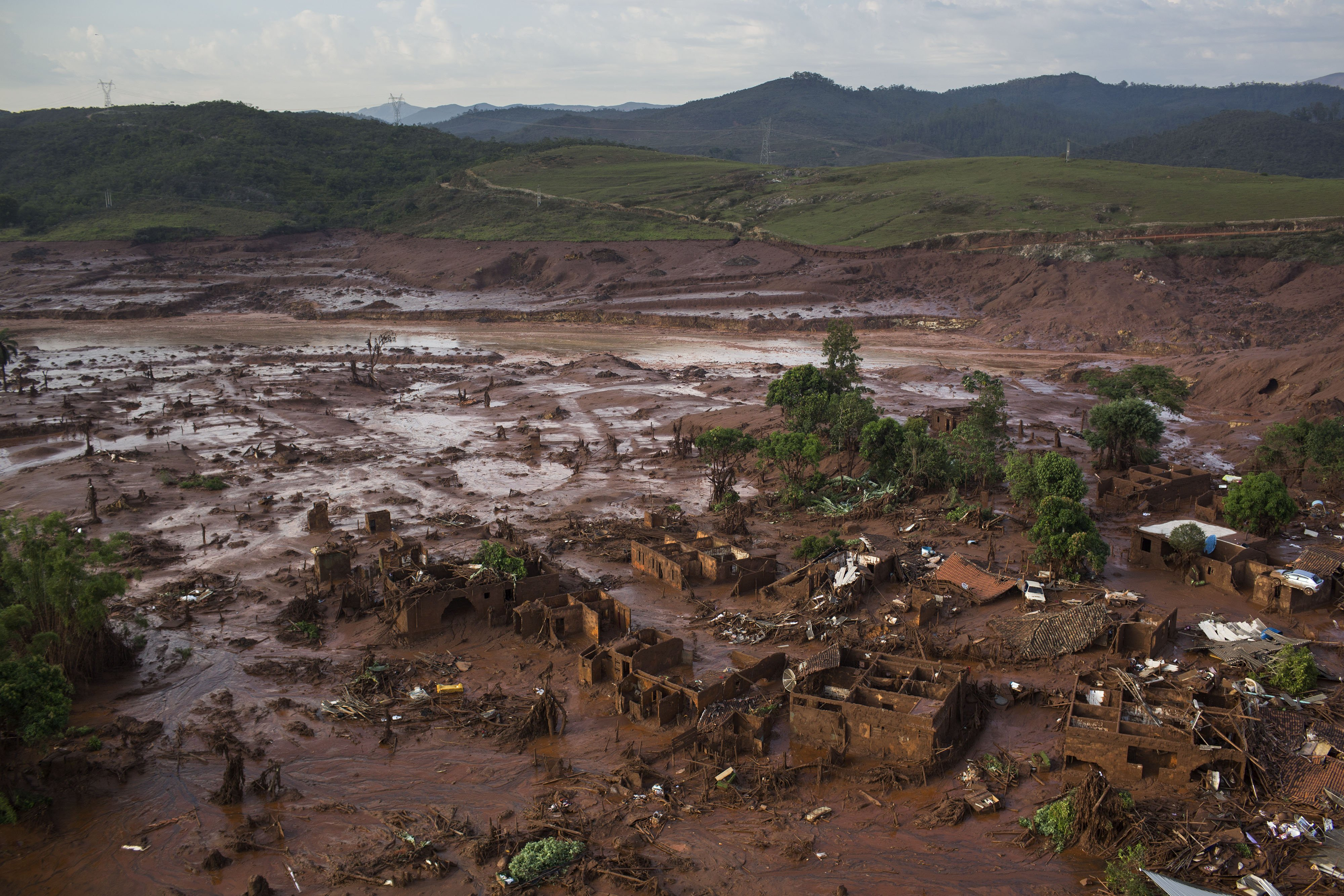 Aerial view of the debris after a dam burst at the small town of Bento Rodrigues in Minas Gerais state, Brazil, on Nov. 6, 2015.