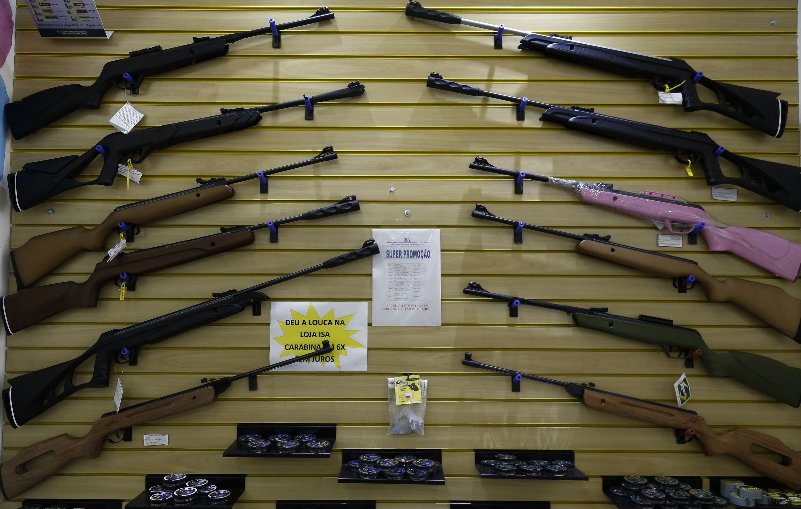 Inside view of a gun shop in Sao Caetano do Sul, Sao Paulo, Brazil on Oct. 30, 2015. Brazil, which has one of the highest murder tolls on the planet, could soon end most restrictions on gun ownership, risking what one critic called a  Wild West  scenario.