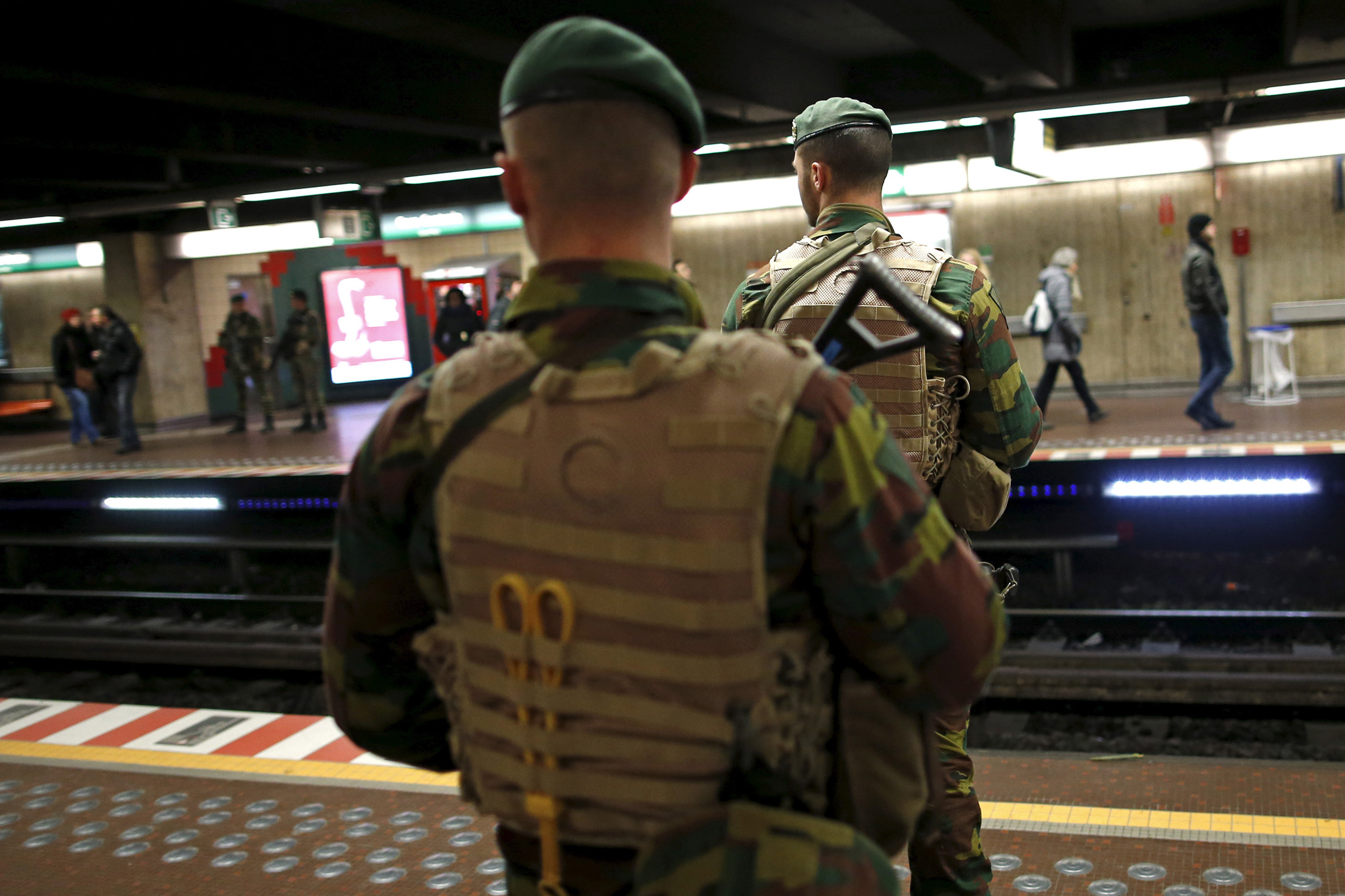Belgian soldiers patrol at the Central Station subway stop in Brussels on Nov. 25, 2015.