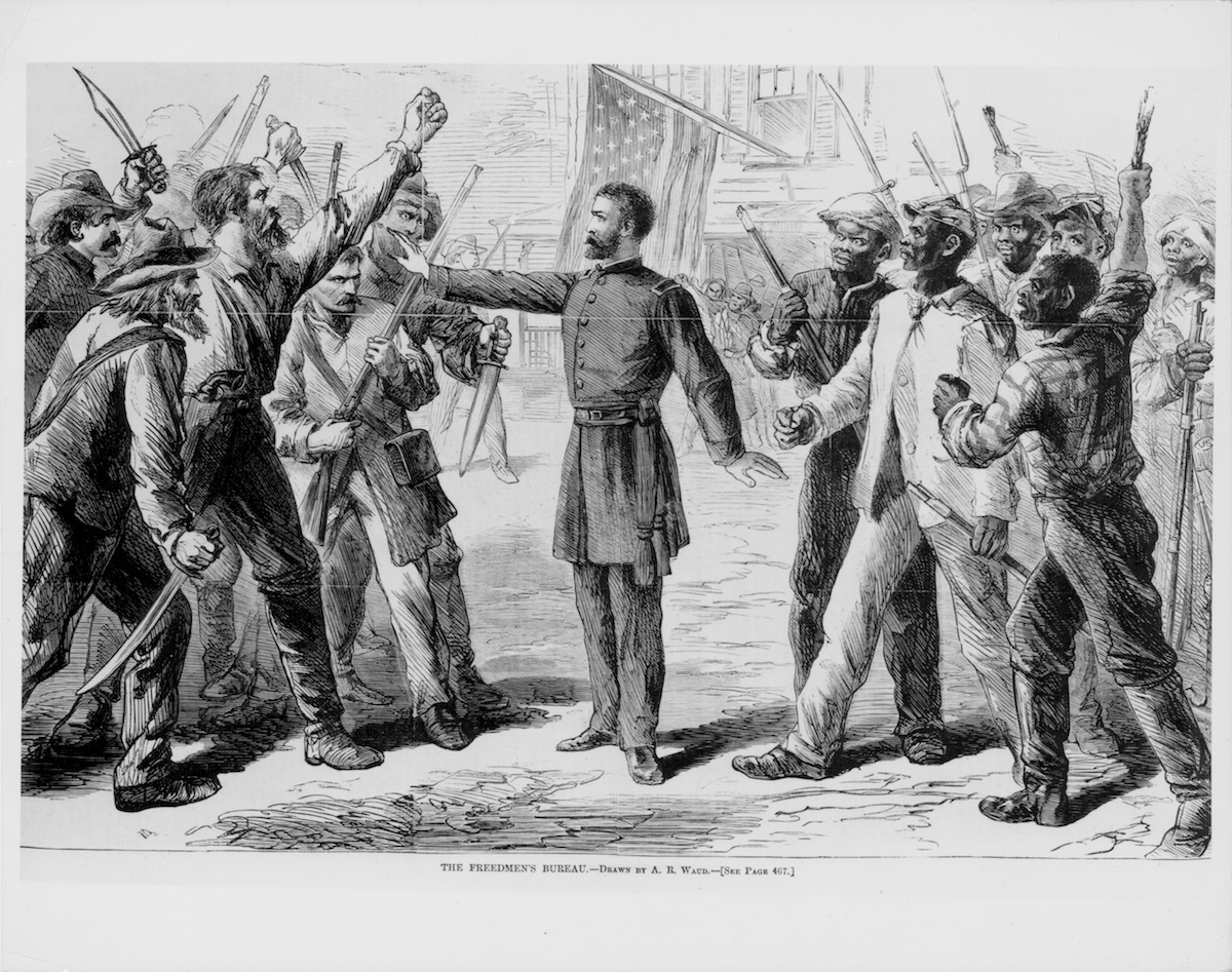 Engraved scene representing The Freedmen's Bureau, a government agency protecting freed slaves during the American Civil War, 1873.