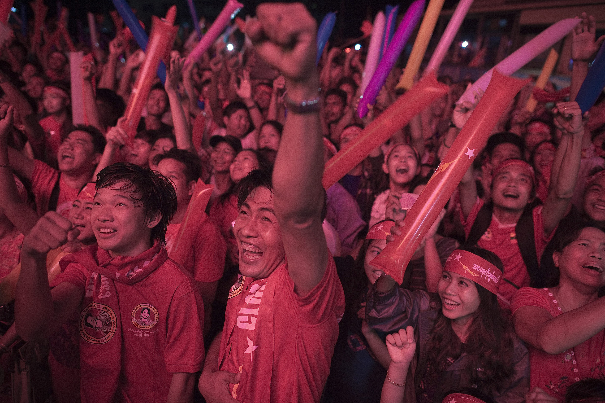 Supporters of Aung San Suu Kyi celebrate in Rangoon on Nov. 9 as they hear the results of Burma's election.