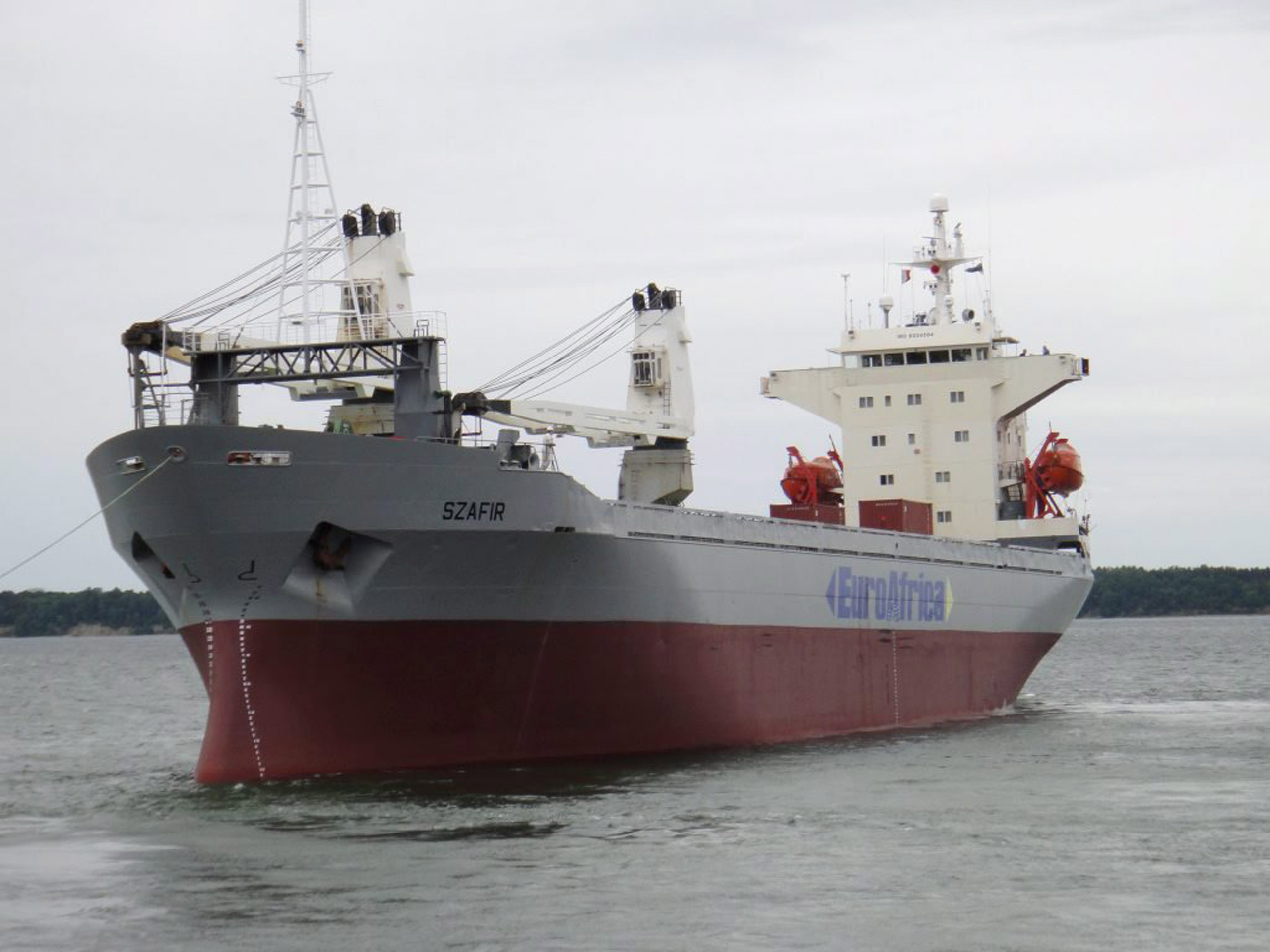 A handout picture shows Szafir (Sapphire) Cargo Ship of Euroafrica Sea Lines as it leaves the port of Tallin, Estonia, on June 30, 2012.
