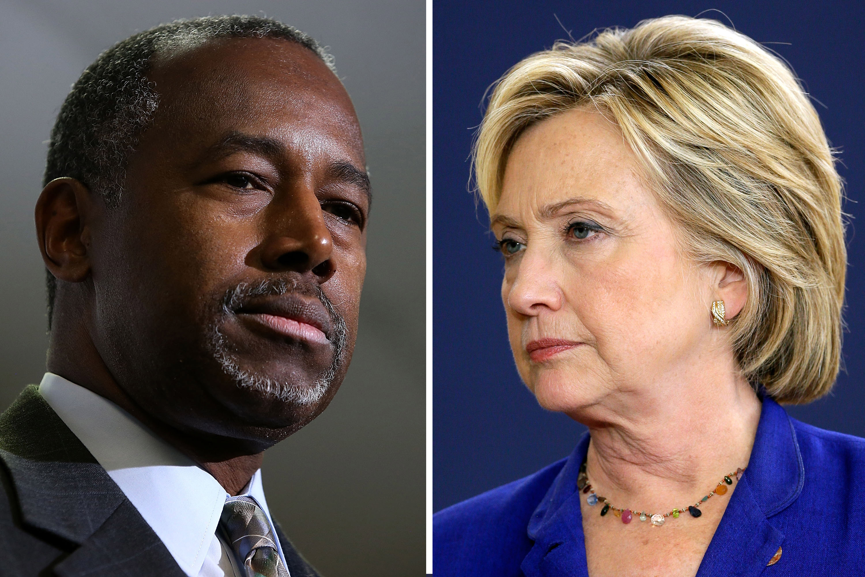 Left: Ben Carson speaks at Colorado Christian University in Lakewood on Oct. 29, 2015; Right: Hillary Rodham Clinton speaks in Des Moines, Iowa, on Sept. 22, 2015.