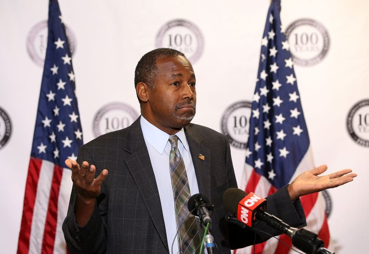 Republican presidential candidate Ben Carson speaks during a news conference before a campaign event at Colorado Christian University in Lakewood, Colo., on Oct. 29, 2015.