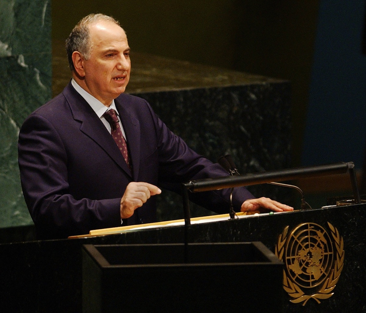 Ahmed Chalabi, one of nine rotating presidents of the Iraqi Governing Council, speaks to the 58th Session of the United Nations General Assembly, Oct. 2, 2003, at UN headquarters in New York.