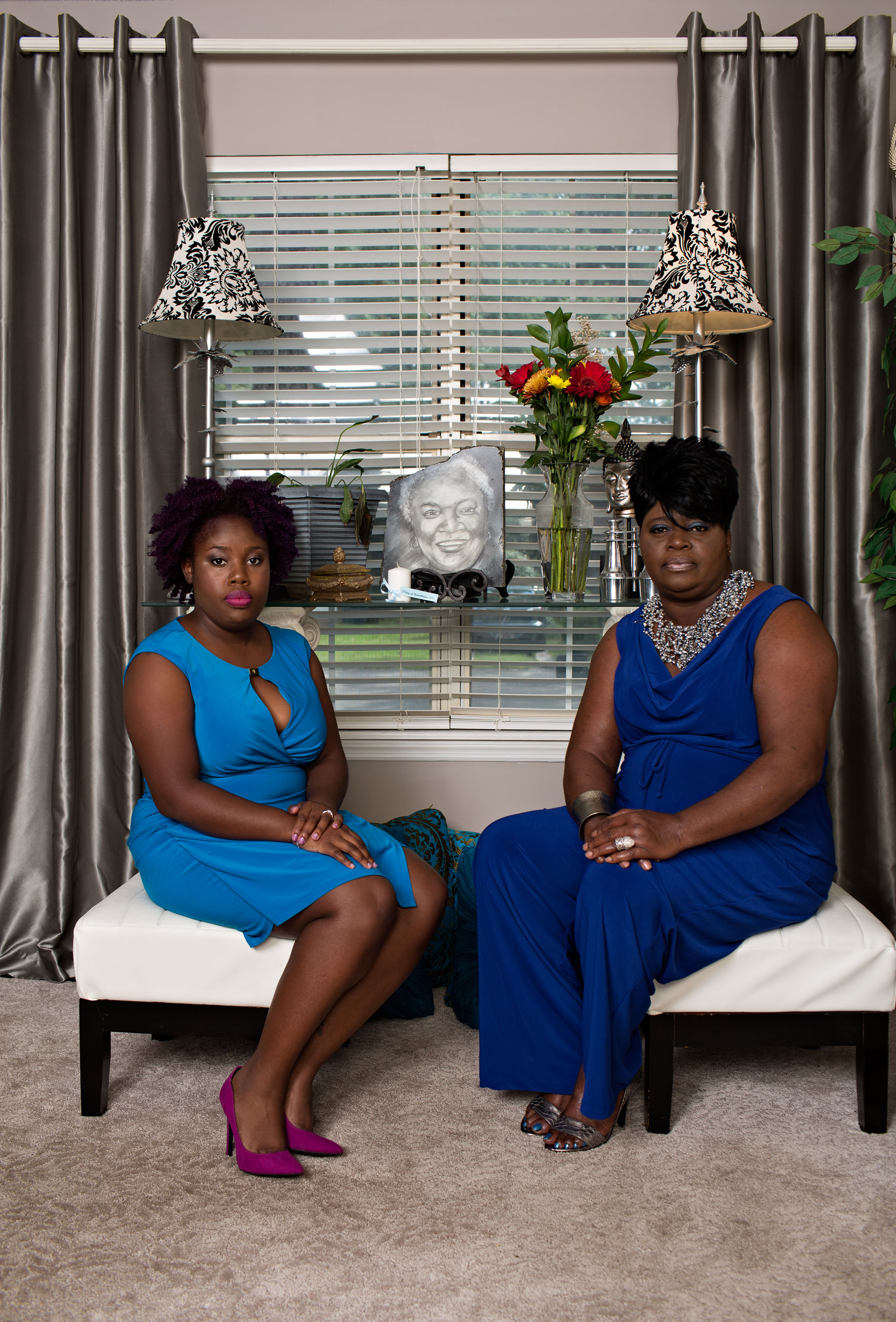 Najee Washington, left, and Nadine CollierEthel Lance's granddaughter and daughter at Collier's Charleston home.                        Collier was the first family member to offer forgiveness at the bond hearing.