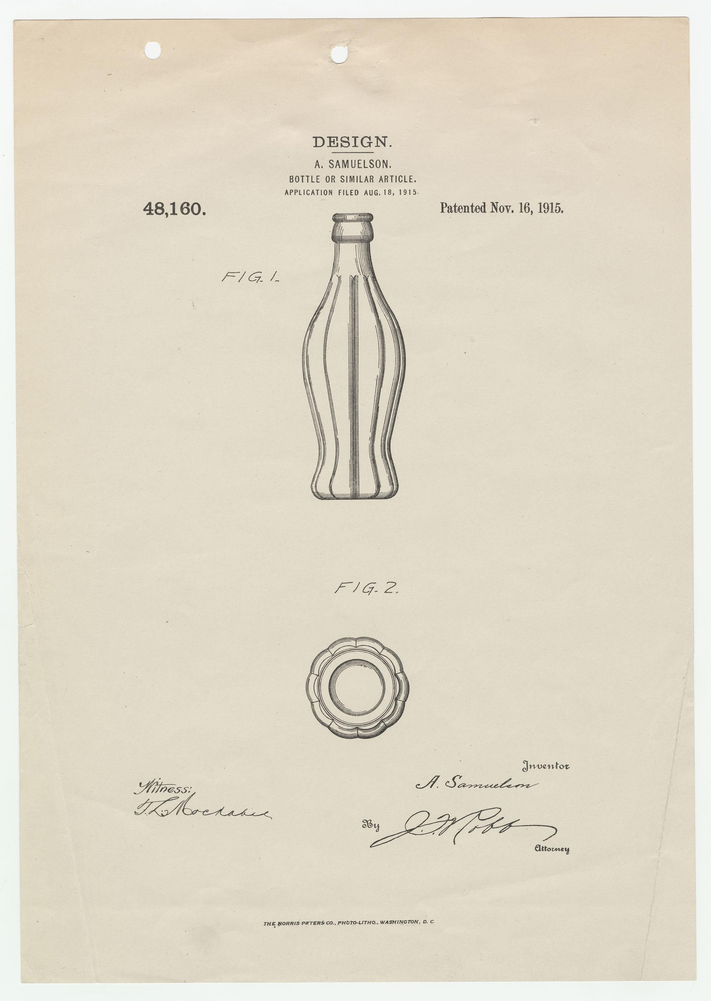 Coca-Cola bottle patent, 1915