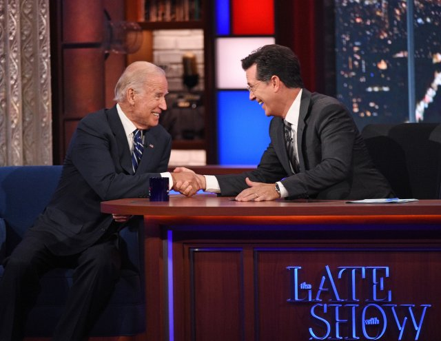 Stephen Colbert talks with Vice President Joe Biden on The Late Show with Stephen Colbert on Sept. 10, 2015 in New York City.