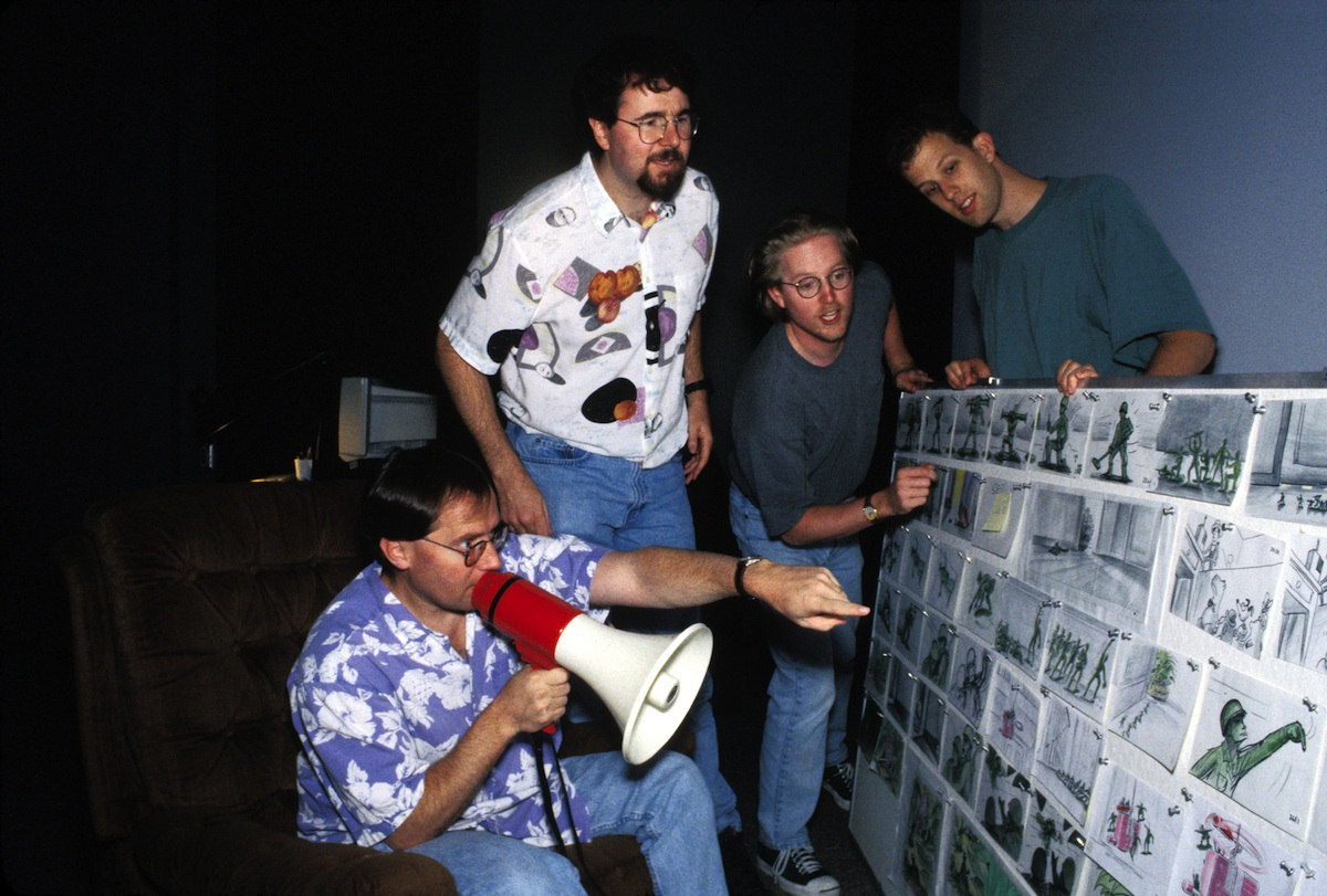 Toy Story Director John Lasseter with Joe Ranft, Pete Docter, and Andrew Stanton