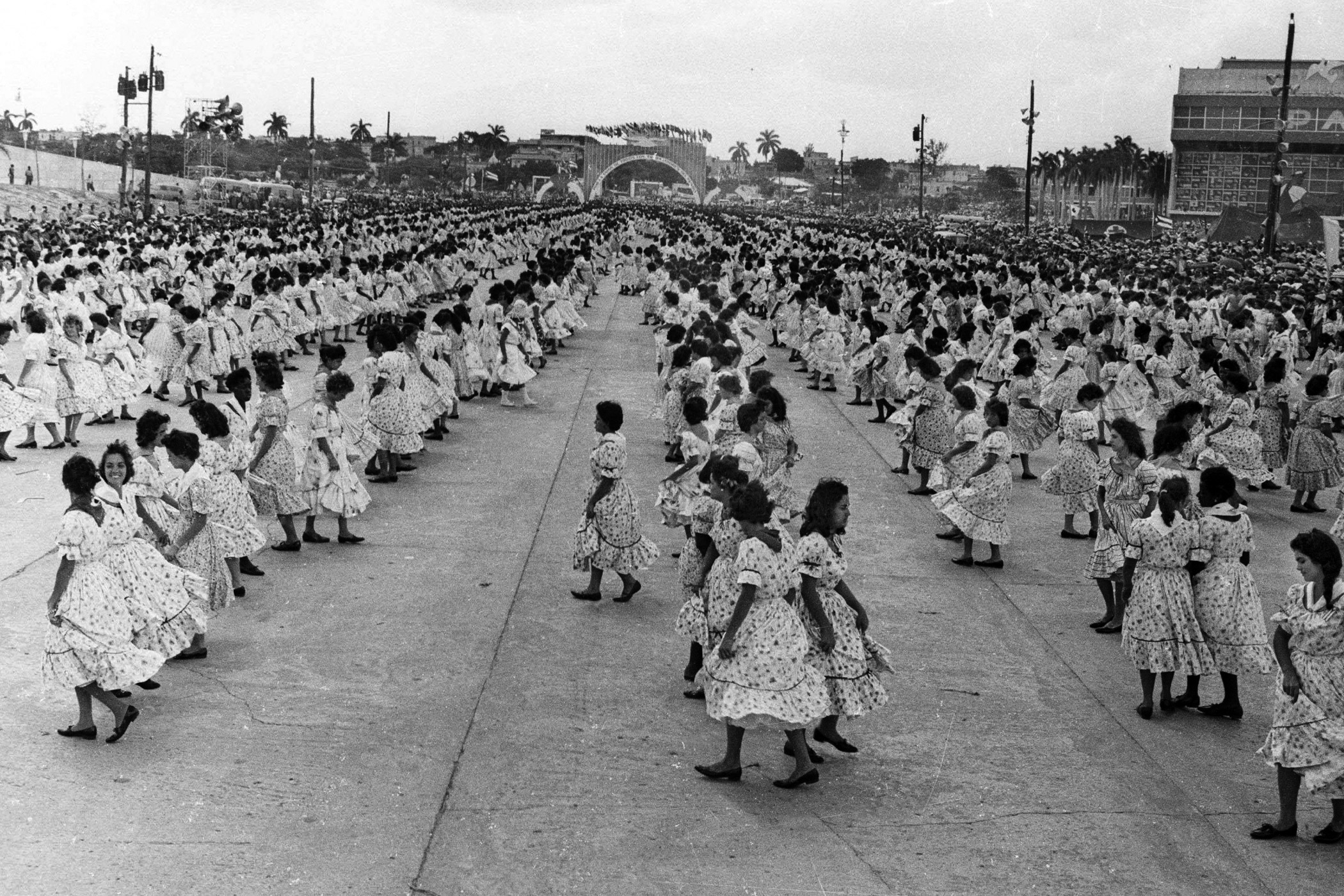 Young Cubans perform a dance during the International Workers' Day celebrations in the Plaza de la Revolucion in Havana on May 1, 1961.