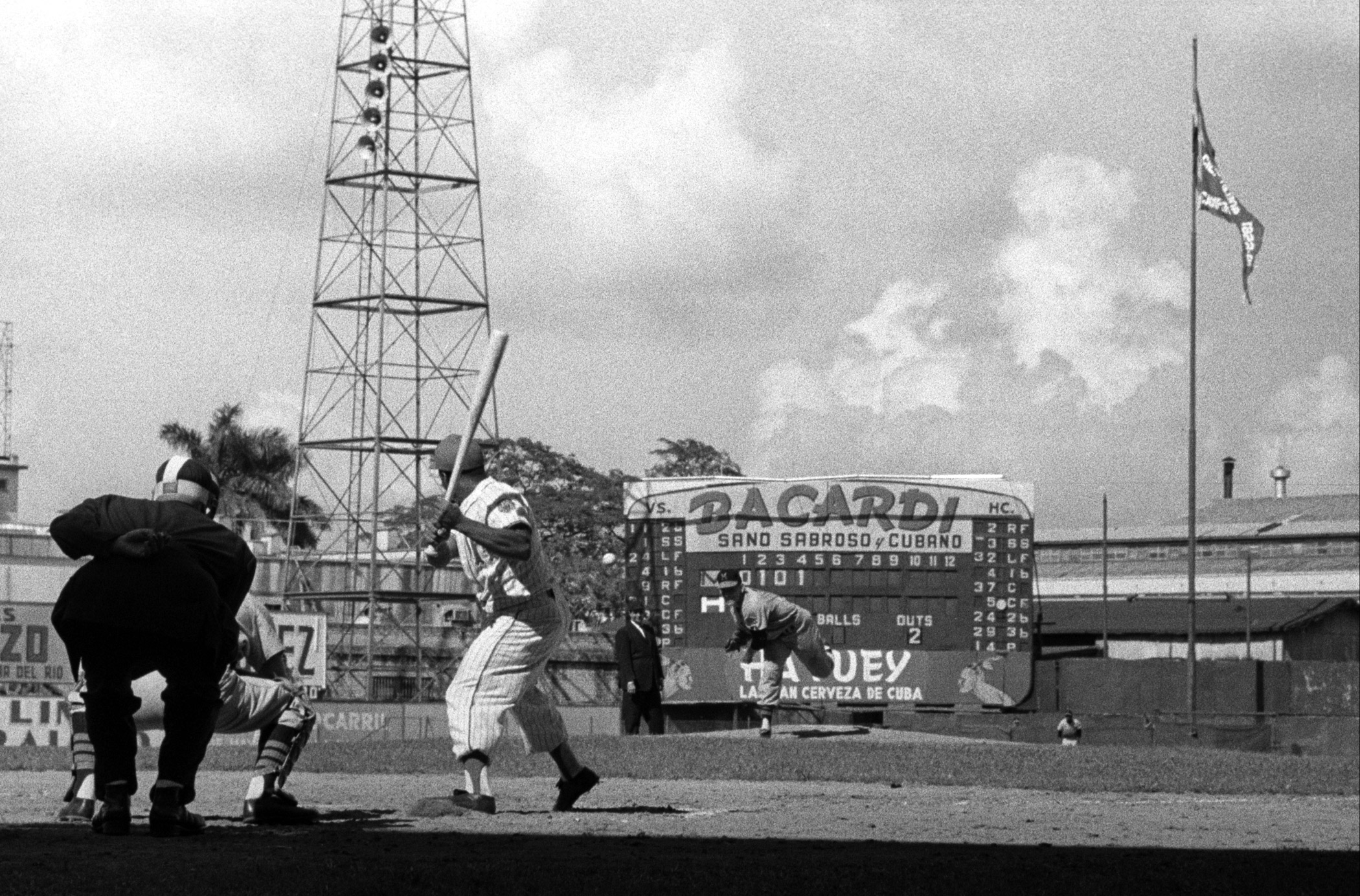 Baseball players in action during the first baseball championship in Havana in 1960.