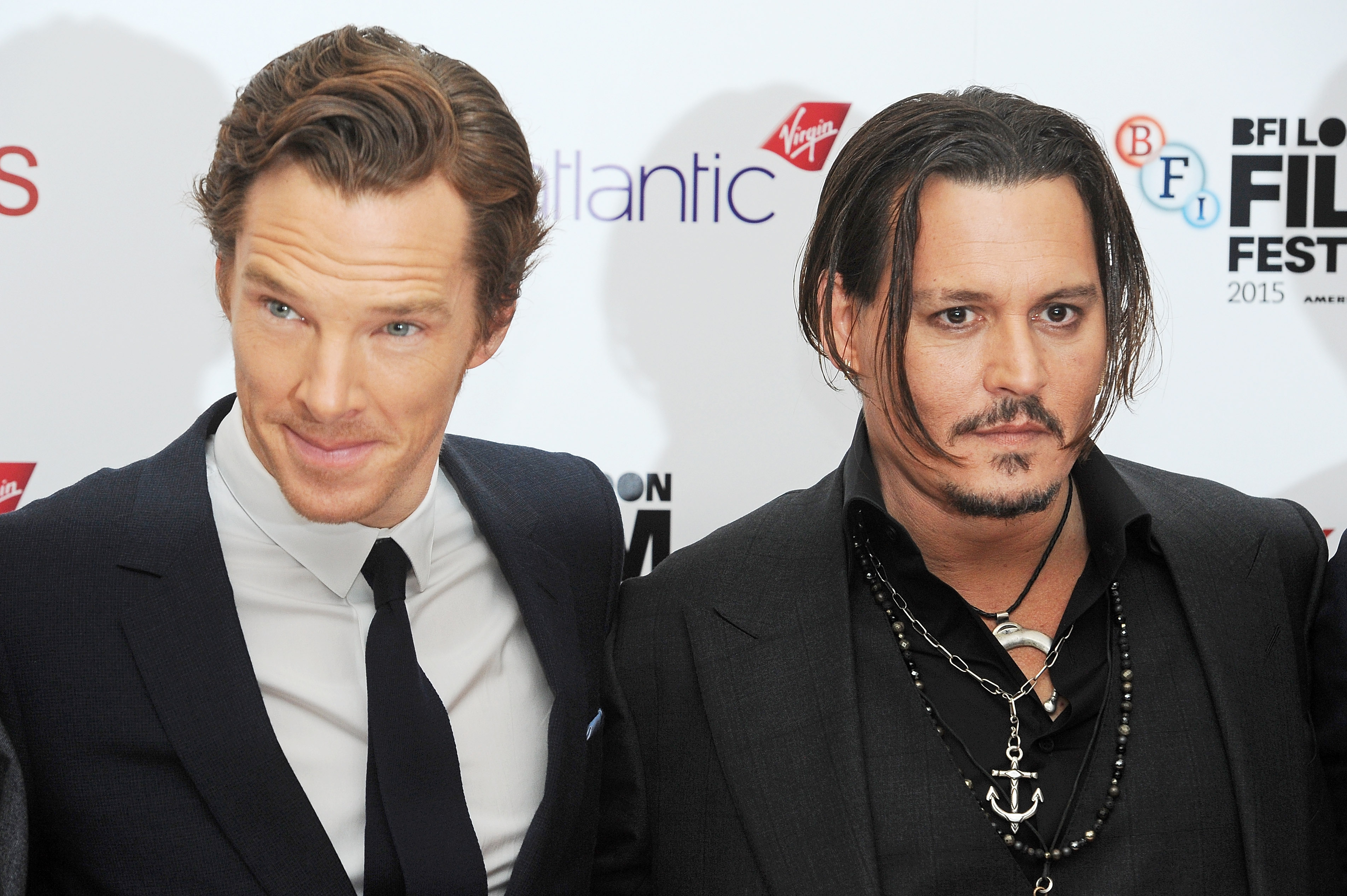 Benedict Cumberbatch and Johnny Depp attend the Virgin Atlantic Gala screening of  Black Mass  in London on Oct. 11, 2015.