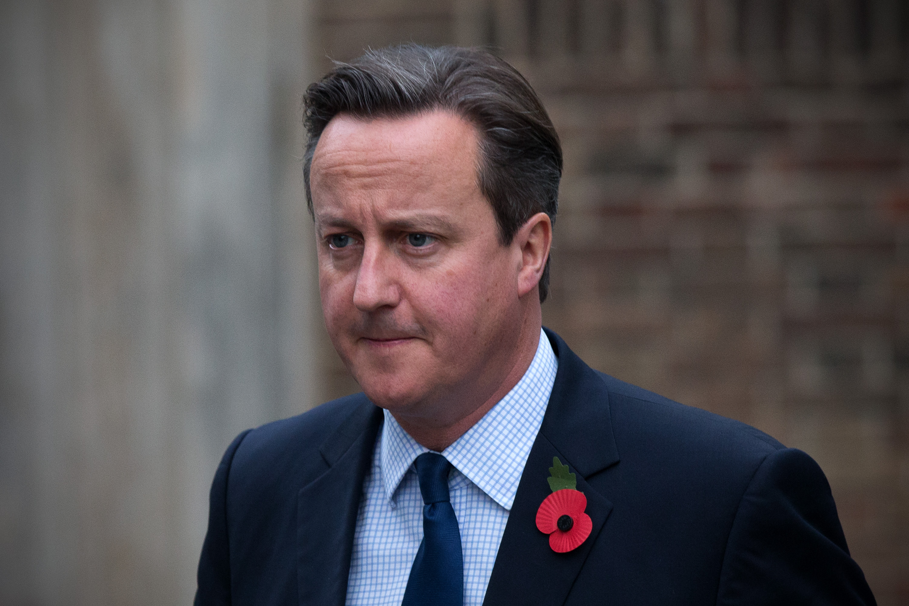 Prime Minister David Cameron arrives to attend a memorial service for former Liberal Democrat leader Charles Kennedy on November 3, 2015 in London, England.