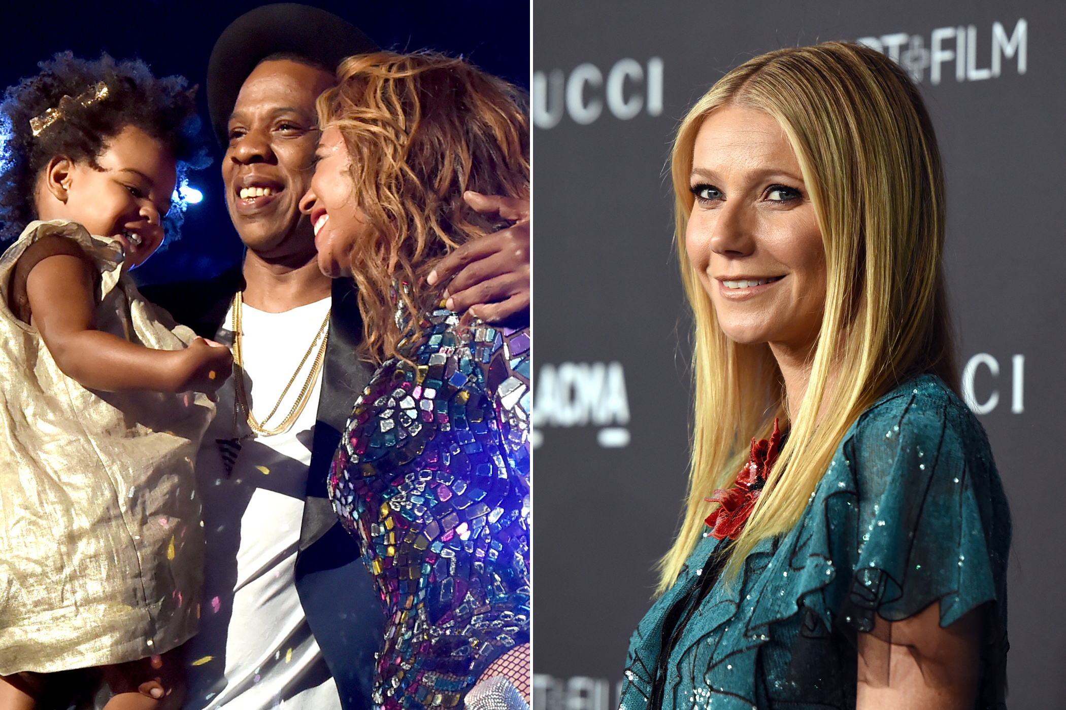 LeftRecording artist Jay-Z and daughter Blue Ivy Carter present the Michael Jackson Video Vanguard Award to honoree Beyonce onstage during the 2014 MTV Video Music Awards in Calif. on August 24, 2014.                     RightGwyneth Paltrow, wearing Gucci, attends LACMA 2015 Art+Film Gala in Los Angeles on Nov. 7, 2015.