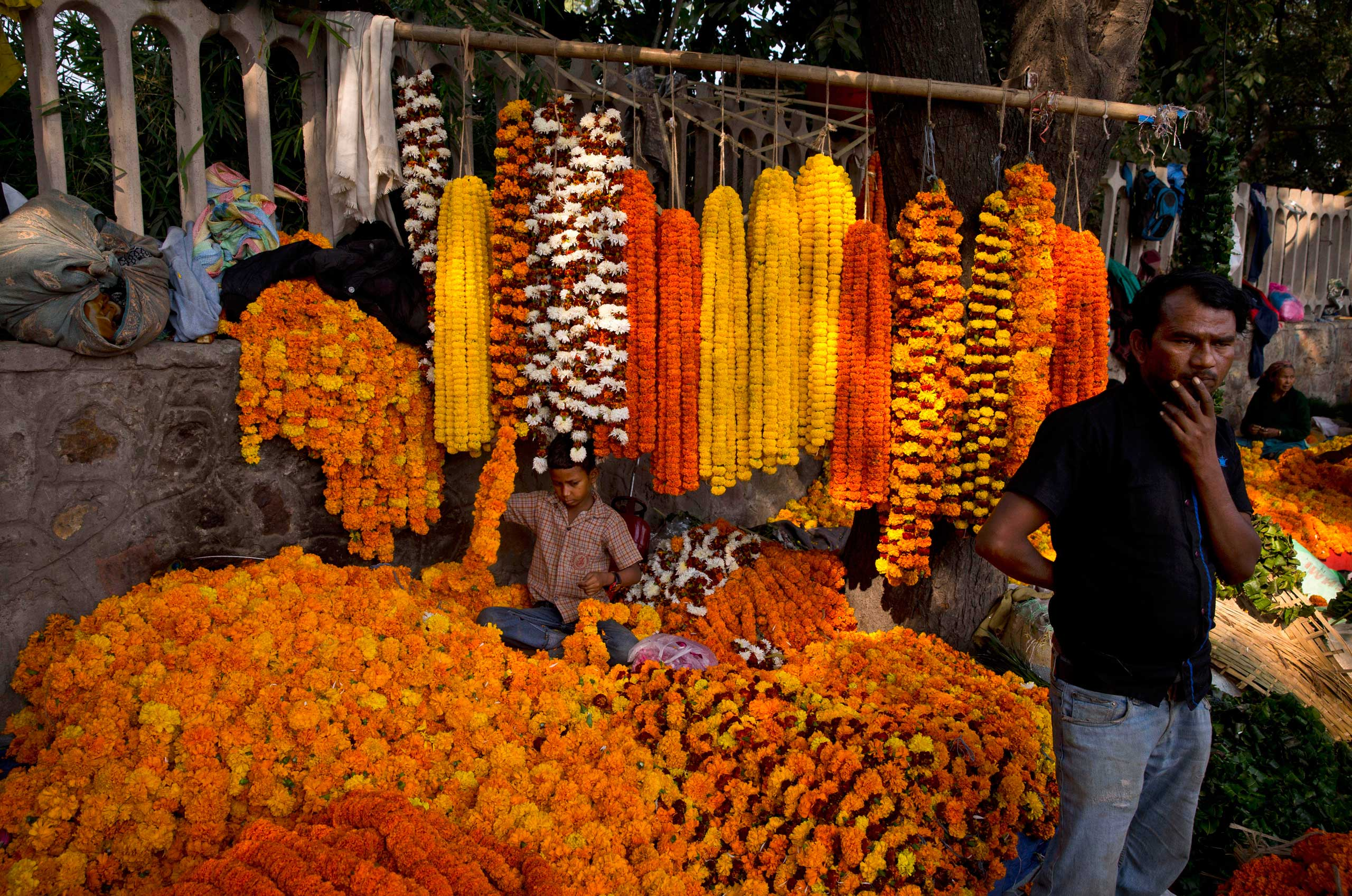 A boy prepares garlands of marigold at a makeshift flower market as people drop by to purchase flowers and decorate their homes on the occasion of Diwali festival, in New Delhi, on Nov. 11, 2015.