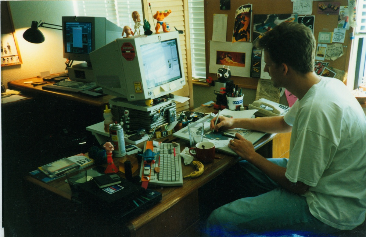 Animator Pete Docter at work on Toy Story