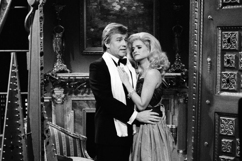 The 'Saturday Night Live' skit 'A Trump Christmas' featured Phil Hartman as Donald Trump and Jan Hooks as Ivana Trump on Dec. 10, 1988.