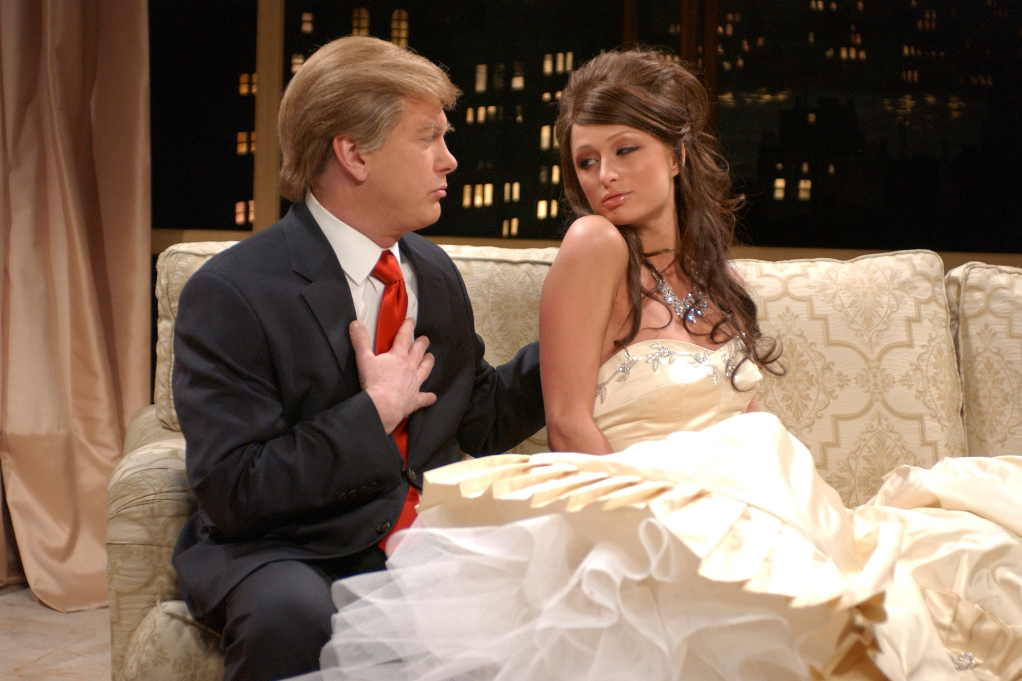 Darrell Hammond and Paris Hilton appeared as Donald Trump and Malania Knauss during  The New Trump Family  skit on Feb. 5, 2005.
