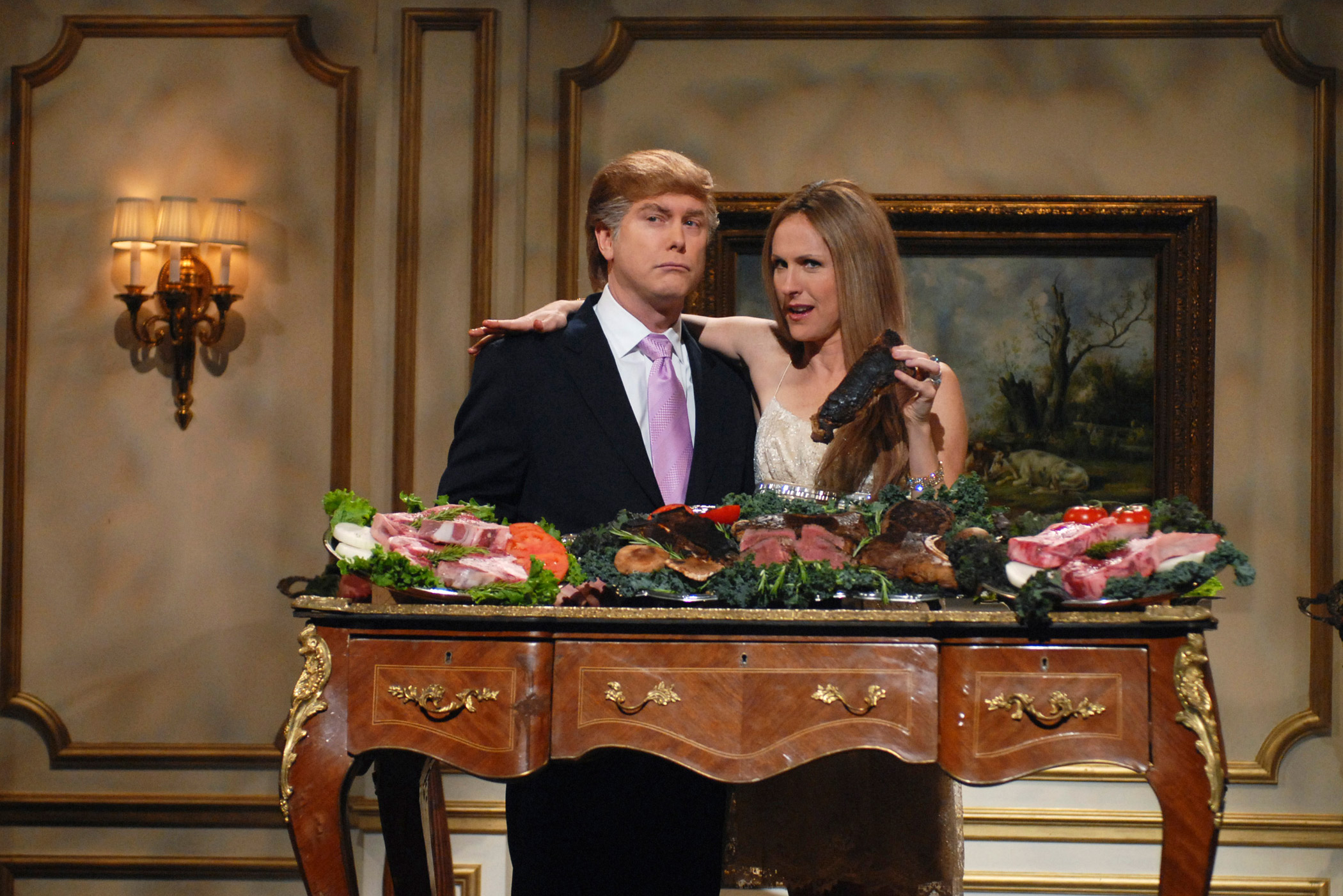 The SNL skit 'Trump Steaks' featured Darrell Hammond as Donald Trump and Molly Shannon as Melania Knauss on May 12, 2007.