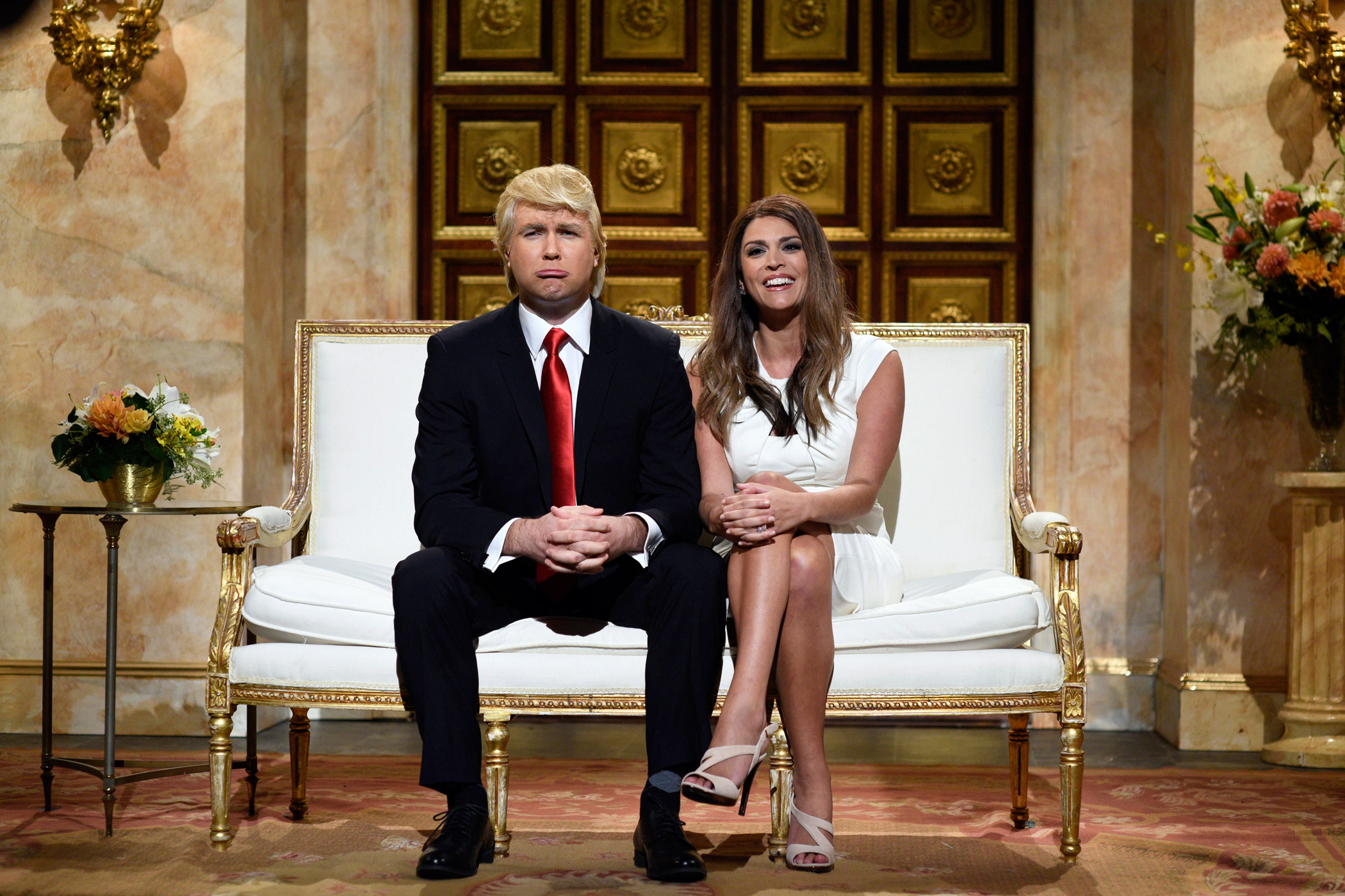 Comedians Taran Killam, as Donald Trump, and Cecily Strong, as Melania Trump, appeared in the sketch 'Trump Cold Open' on Oct. 3, 2015.