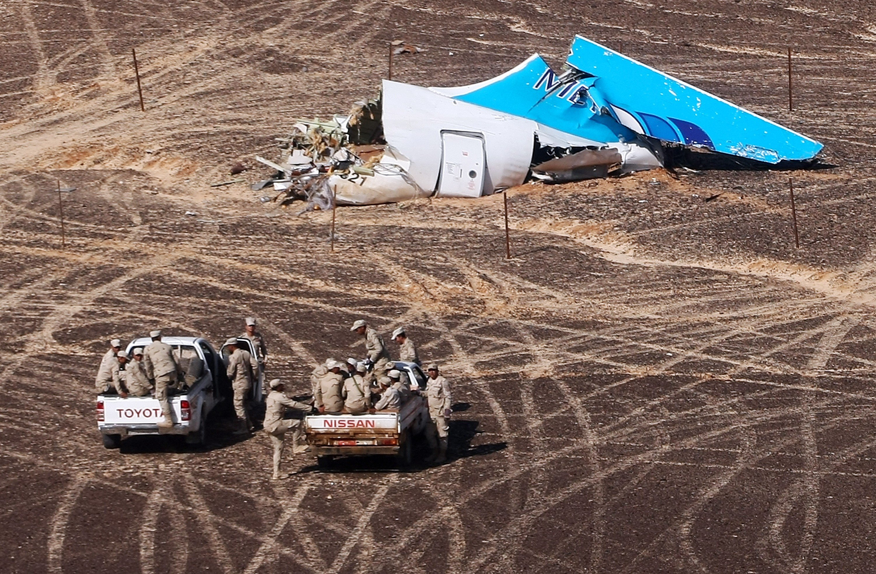 Wreckage at the site where a Russian aircraft crashed in Egypt's Sinai Peninsula near El Arish city, on Nov. 1, 2015.