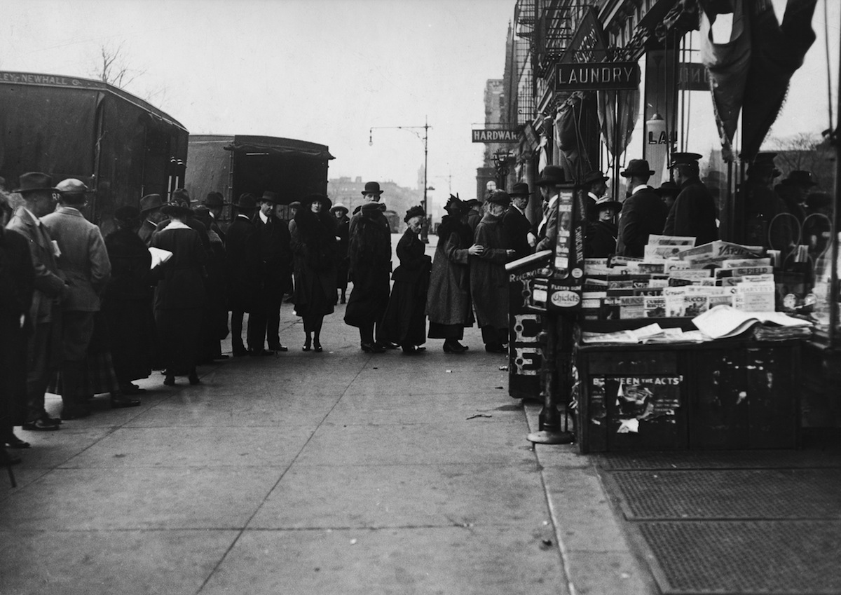 Voters in line in New York City on election day, circa 1912.