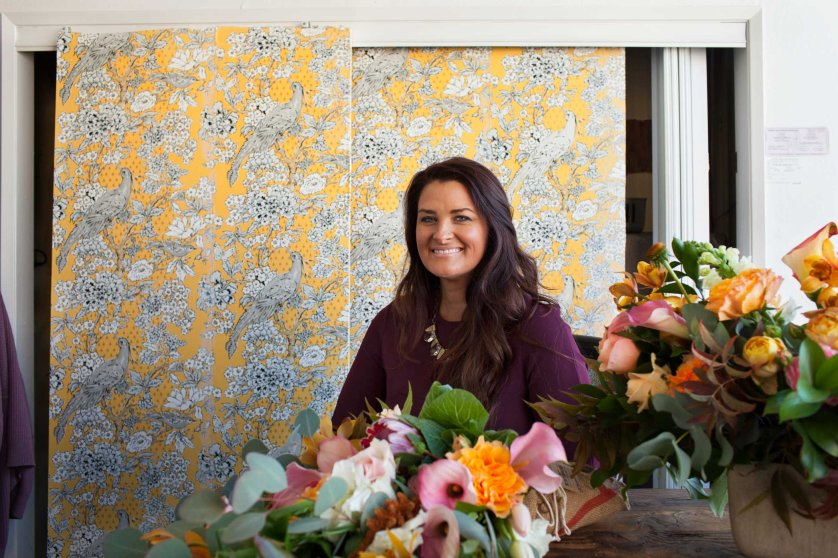 Christina Stembel, Owner & CEO of Farmgirl Flowers, in her office above the SF Flower Mart where her business is located.