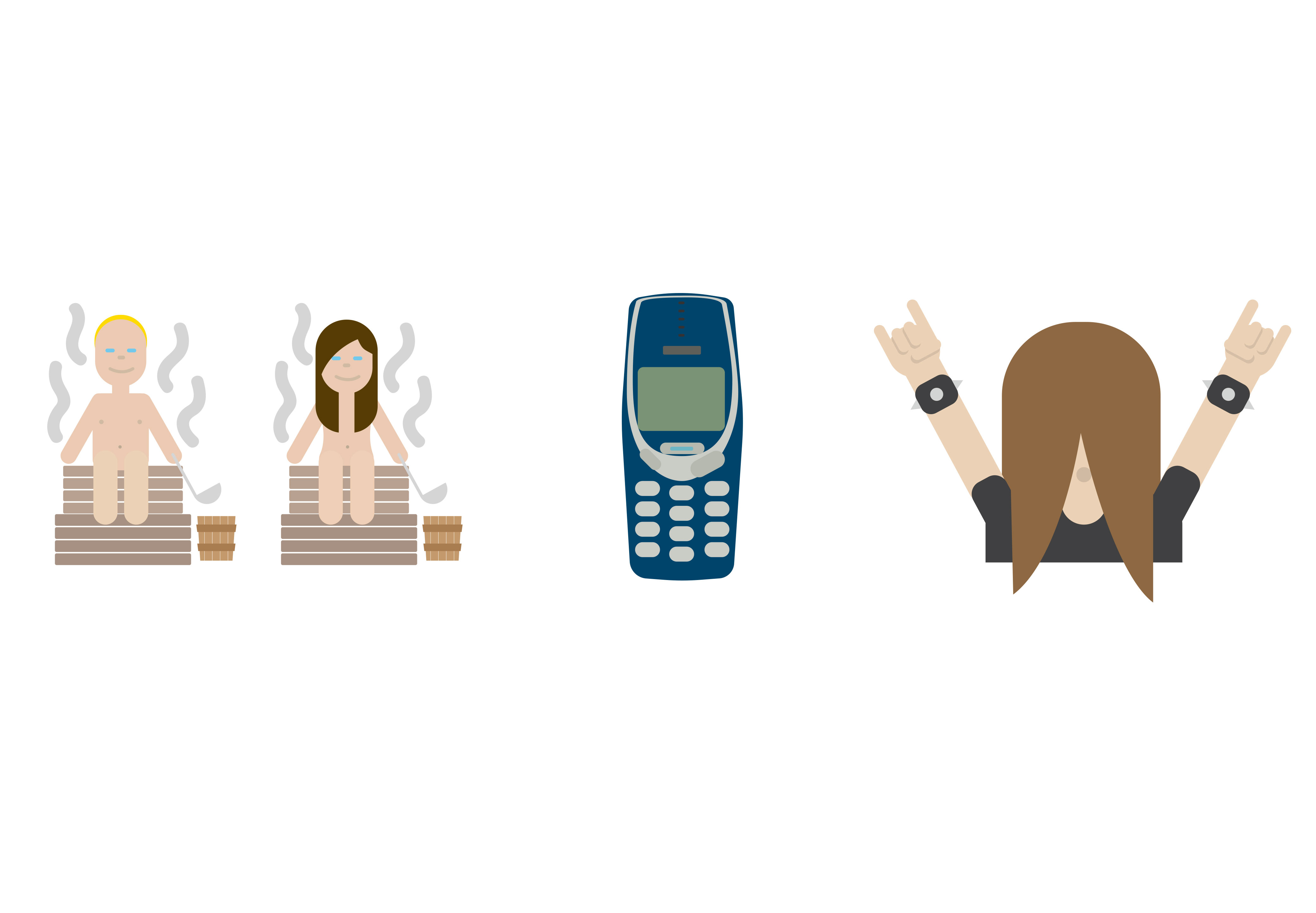 Computer-generated emojis made available by Finland's Foreign Ministry include people sweating in saunas, classic Nokia phones and heavy metal head-bangers.
