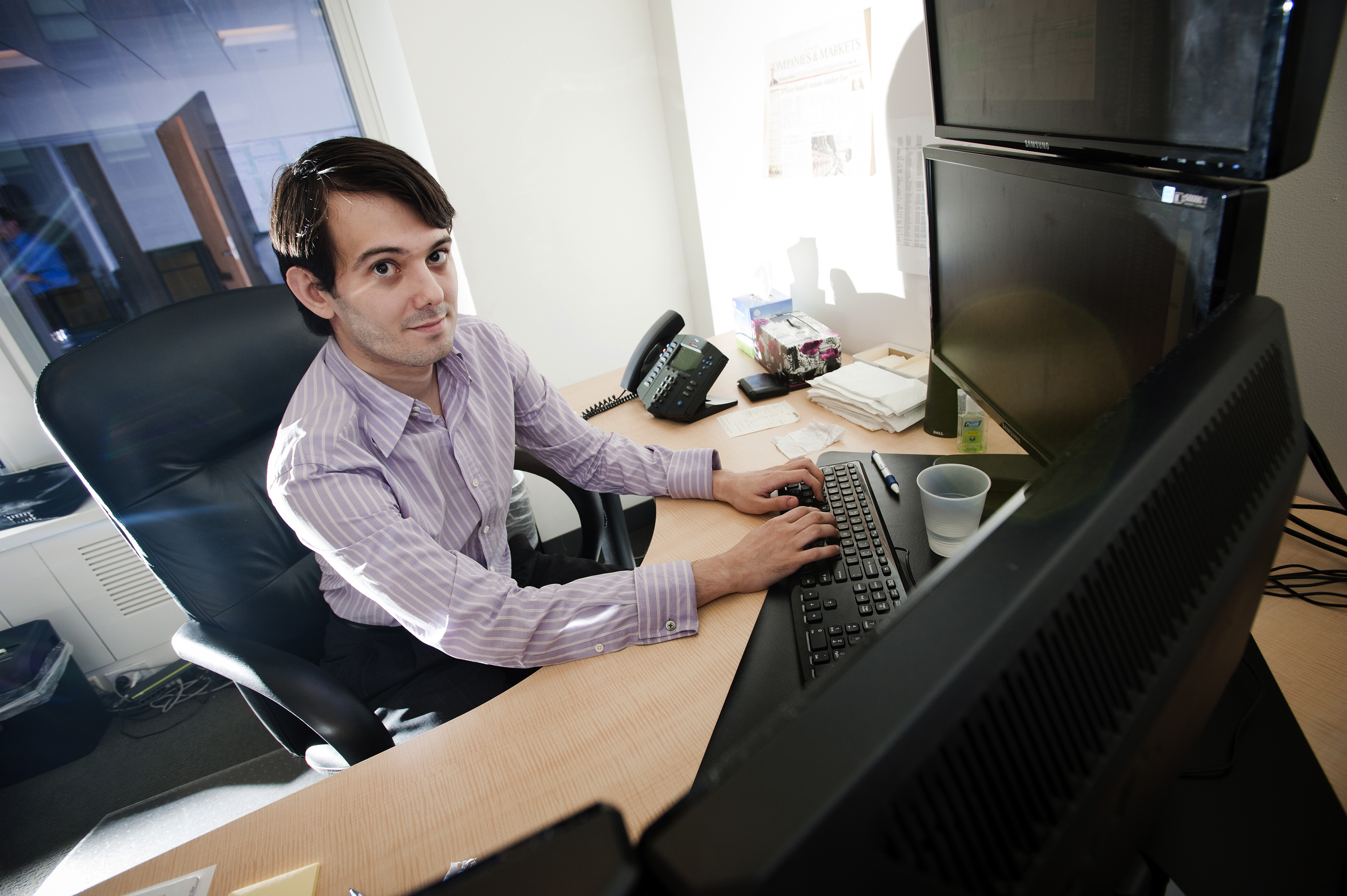 Martin Shkreli sits for a photograph, Aug. 10, 2011