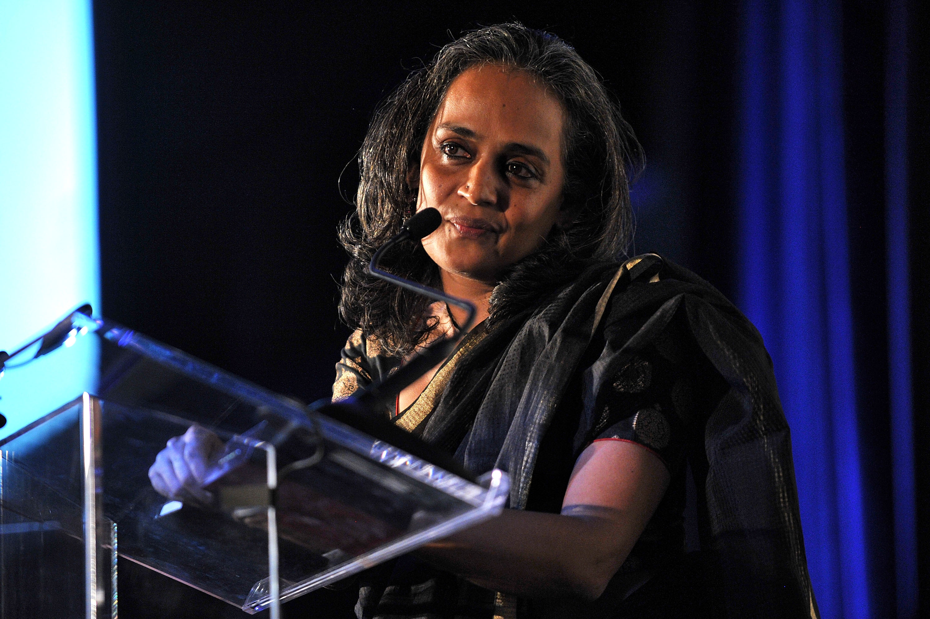 Author Arundhati Roy speaks at the 3rd Annual Norman Mailer Center Gala at the Mandarin Oriental Hotel on November 8, 2011 in New York City.